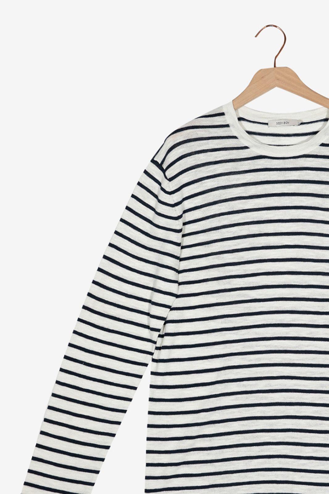 Zwart wit gestreepte knit trui - Heren | Sissy-Boy