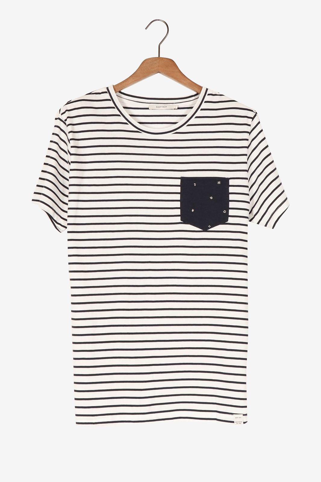 Gestreept t-shirt met borstzakje