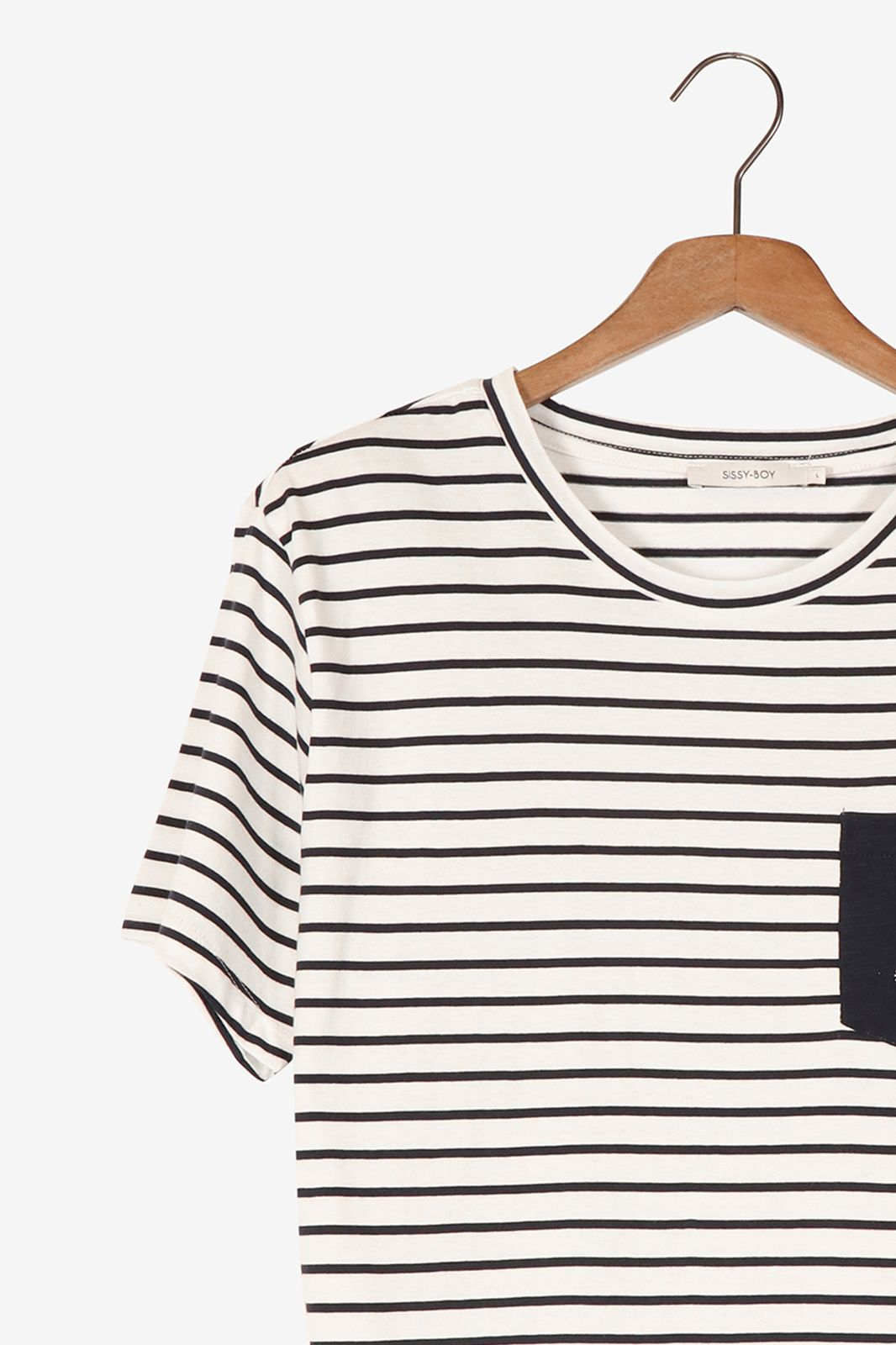 Gestreept t-shirt met borstzakje - Heren | Sissy-Boy