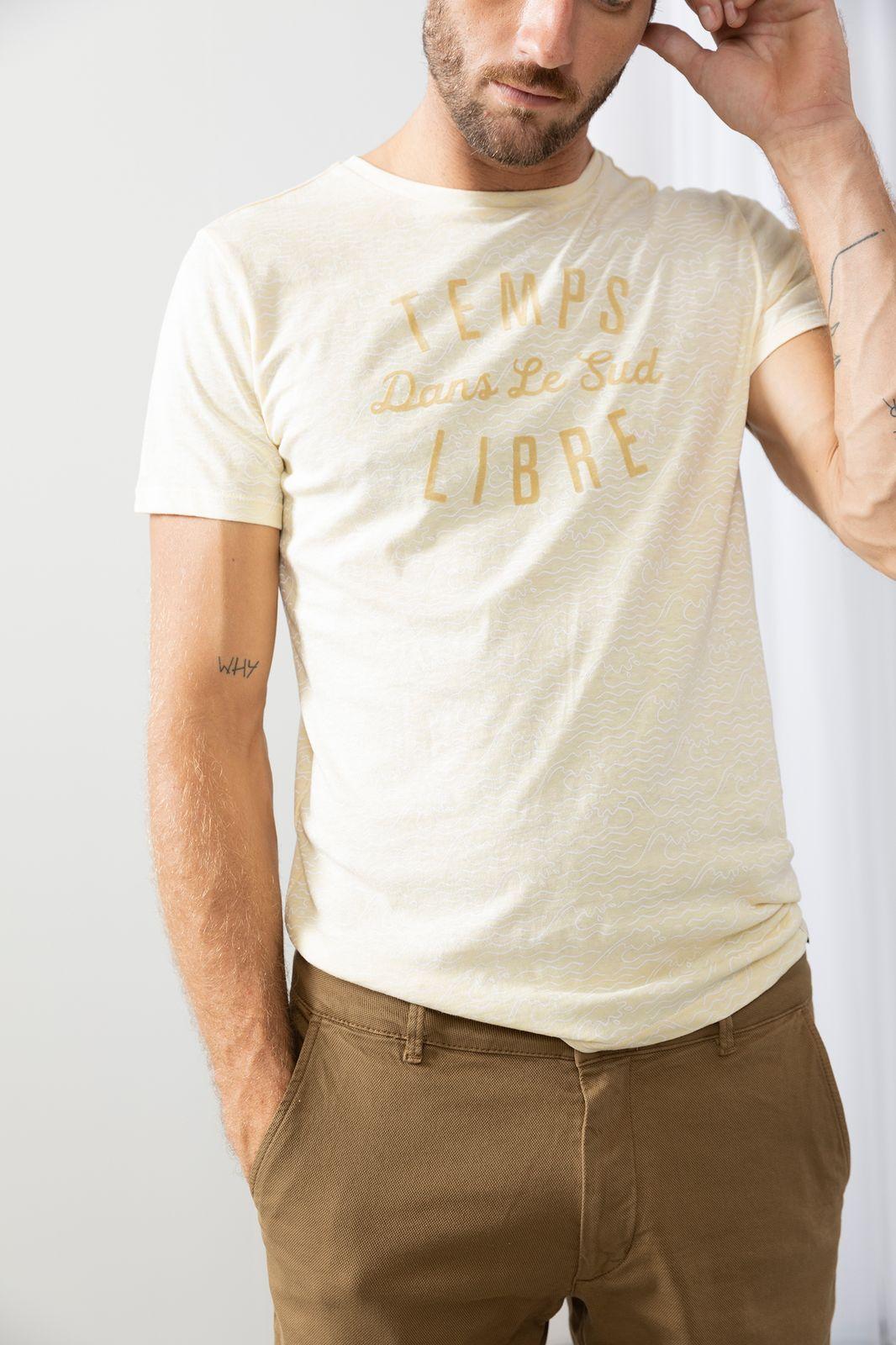 Lichtgeel t-shirt all over print