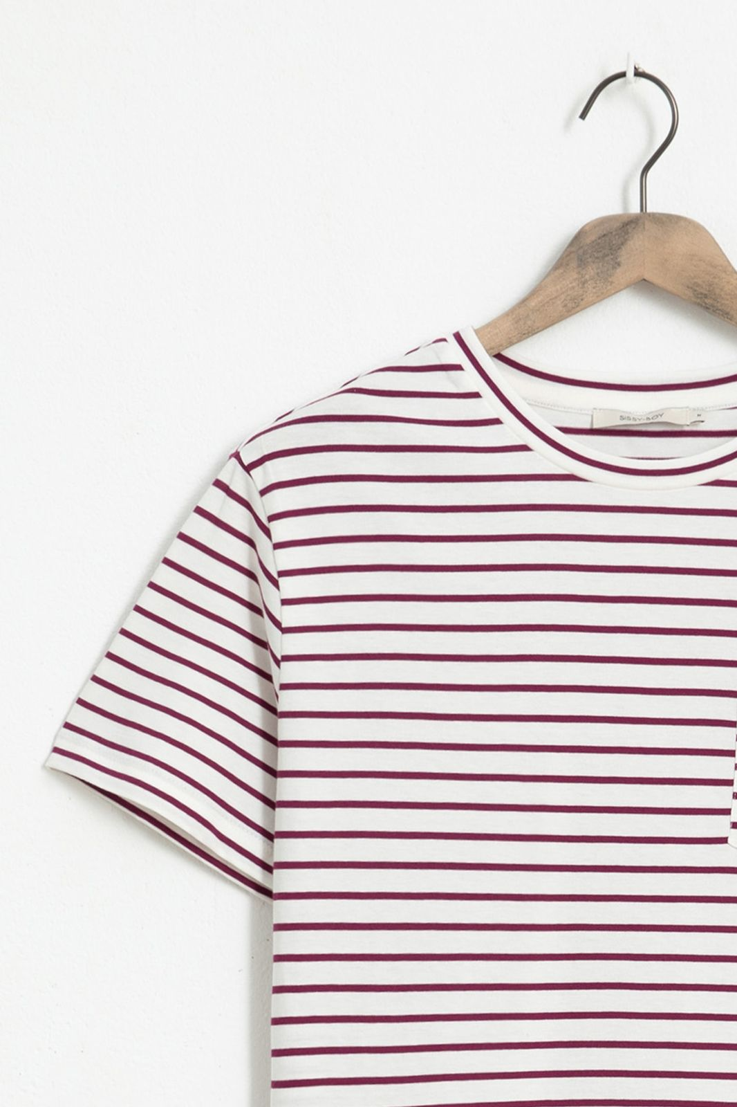 Ecru T-shirt gestreept - Heren | Sissy-Boy
