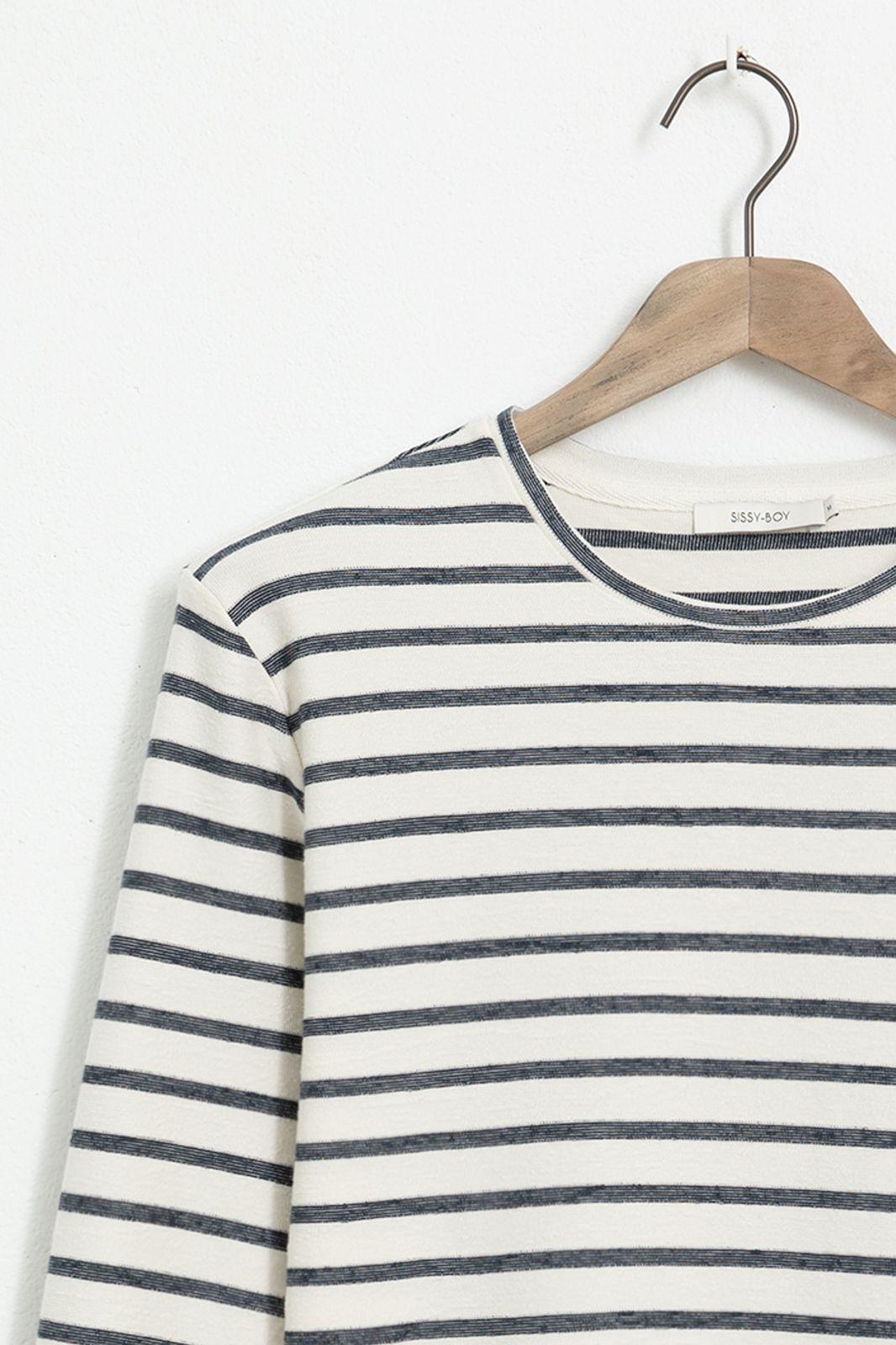 Ecru T-shirt gestreept