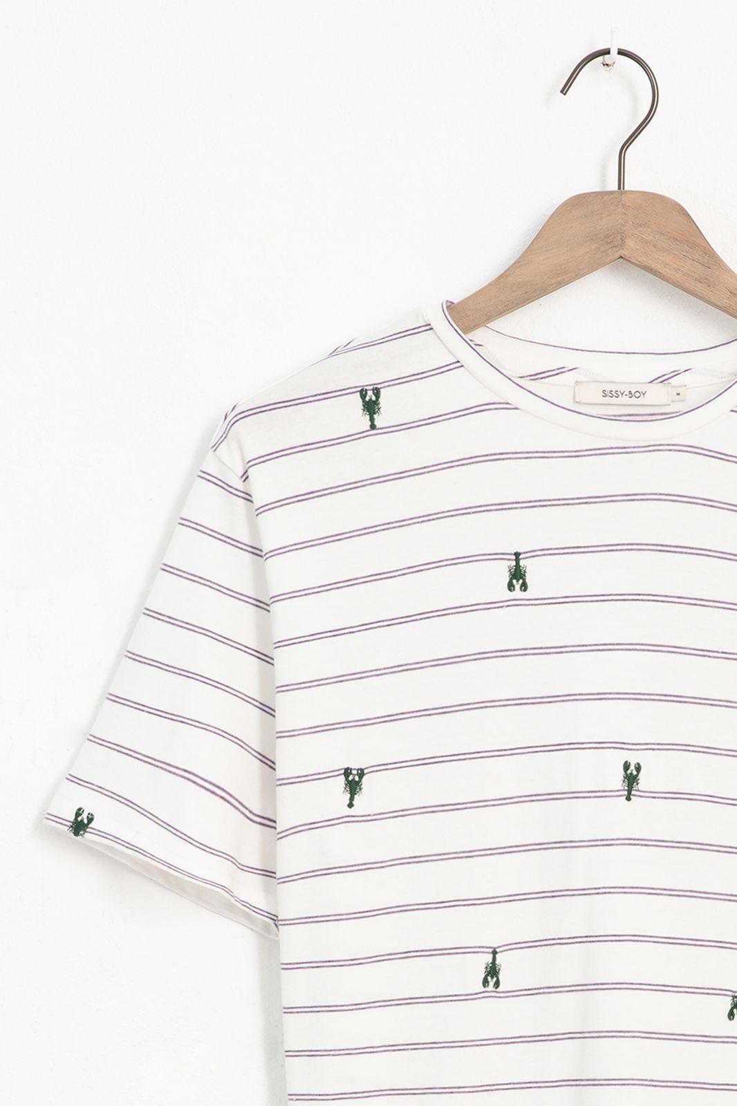 Gestreept T-shirt met all over kreeft embroidery - Heren | Sissy-Boy
