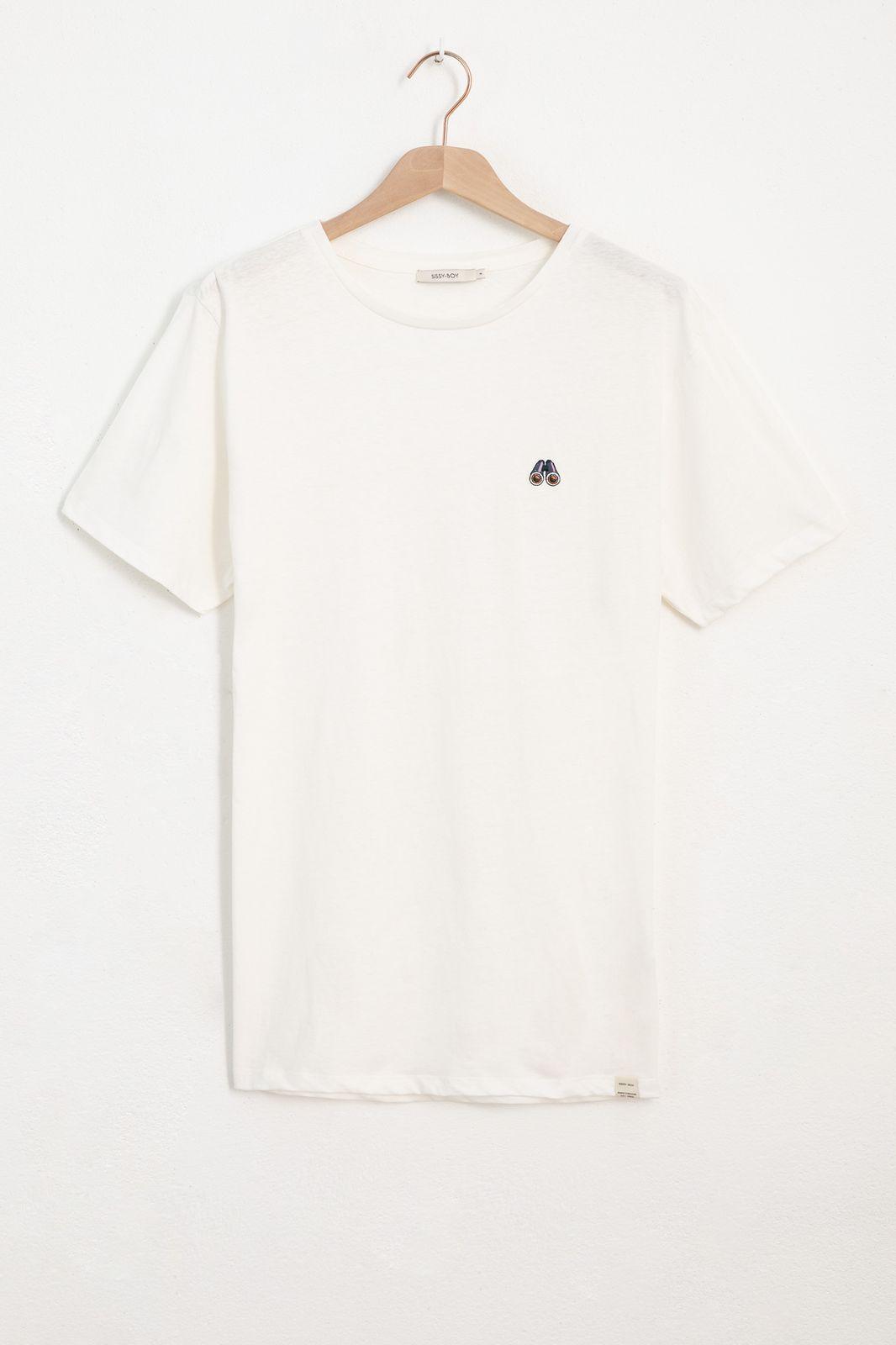 Ecru linnen T-shirt met verrekijker embroidery - Heren | Sissy-Boy