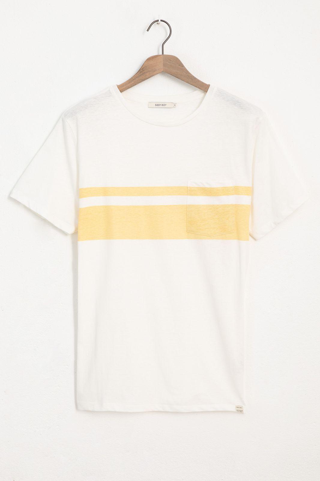 Ecru T-shirt met gele streep - Heren   Sissy-Boy