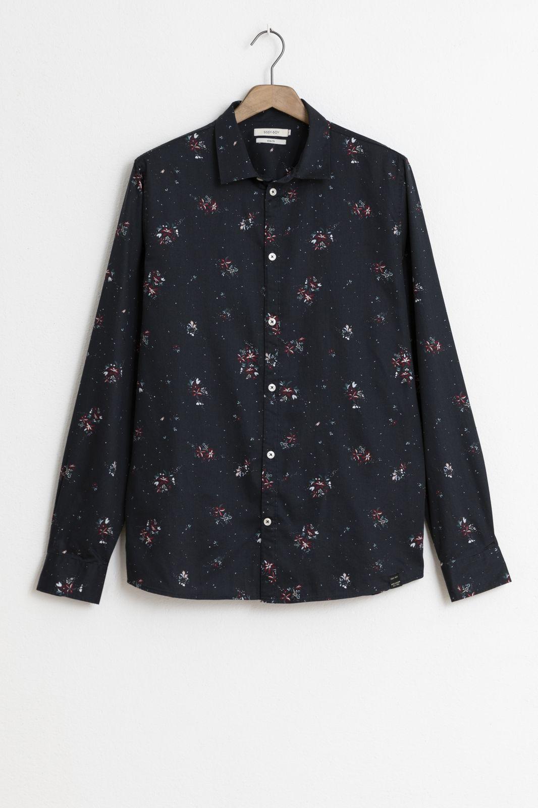 Zwart katoenen overhemd met print - Heren | Sissy-Boy