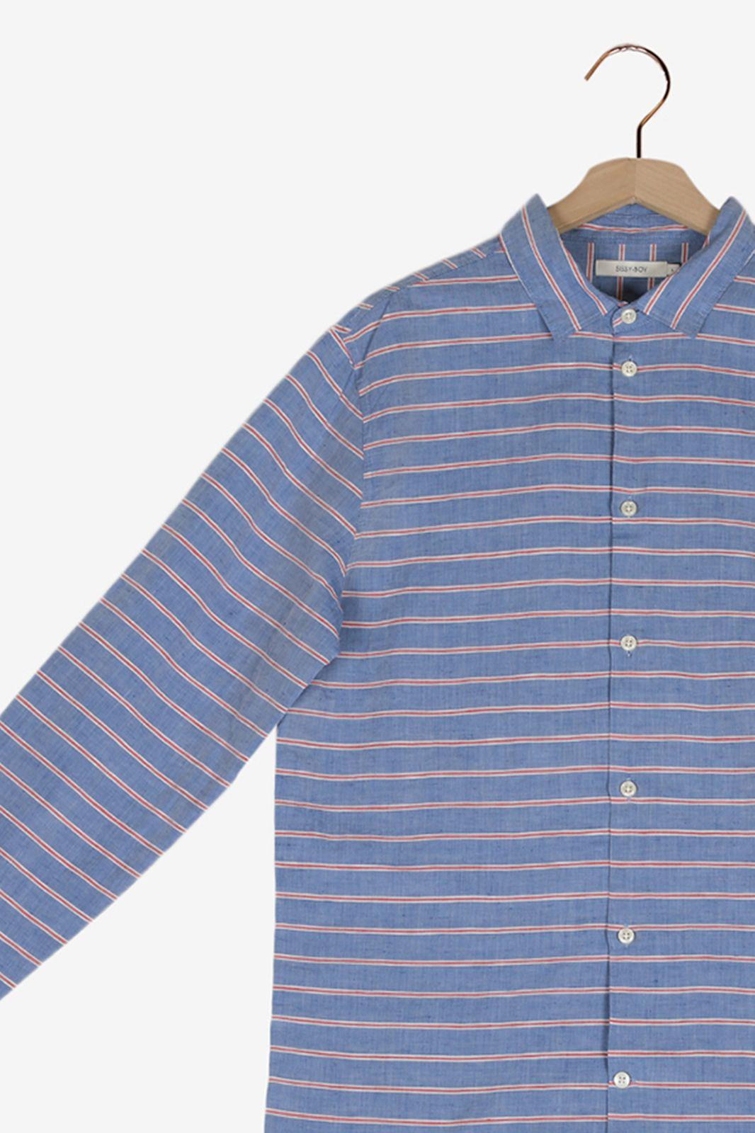 Blauw overhemd met streep - Heren | Sissy-Boy