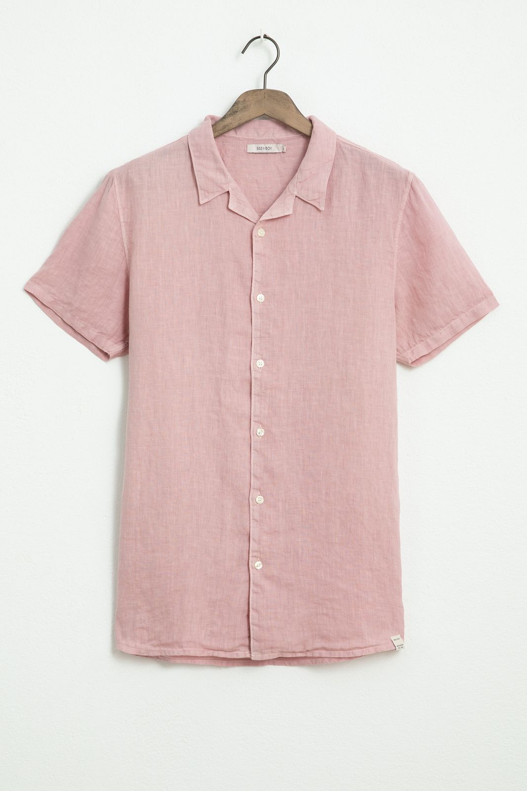 Roze linnen overhemd met korte mouw - Heren | Sissy-Boy