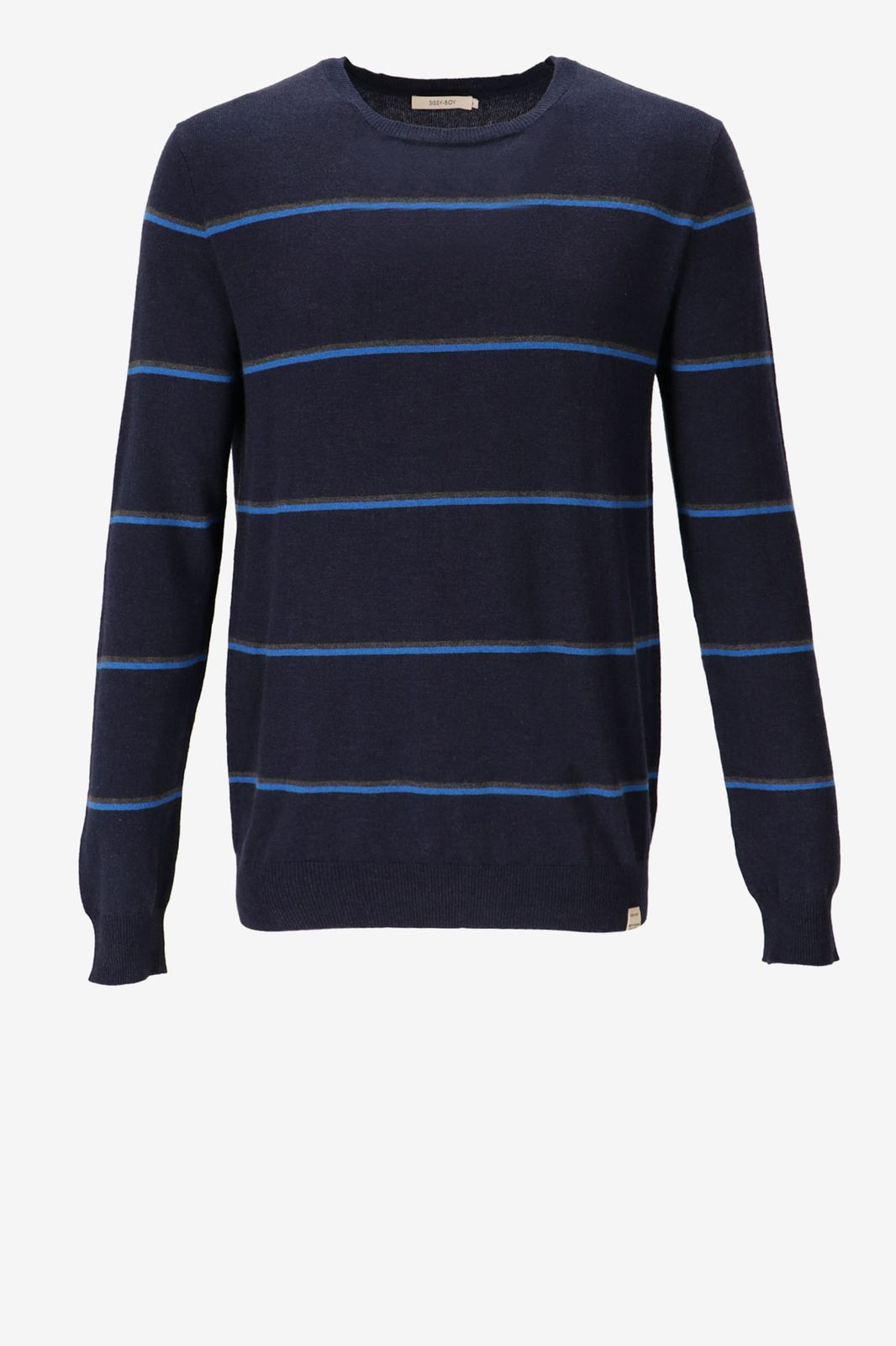 Donkerblauwe gestreepte trui