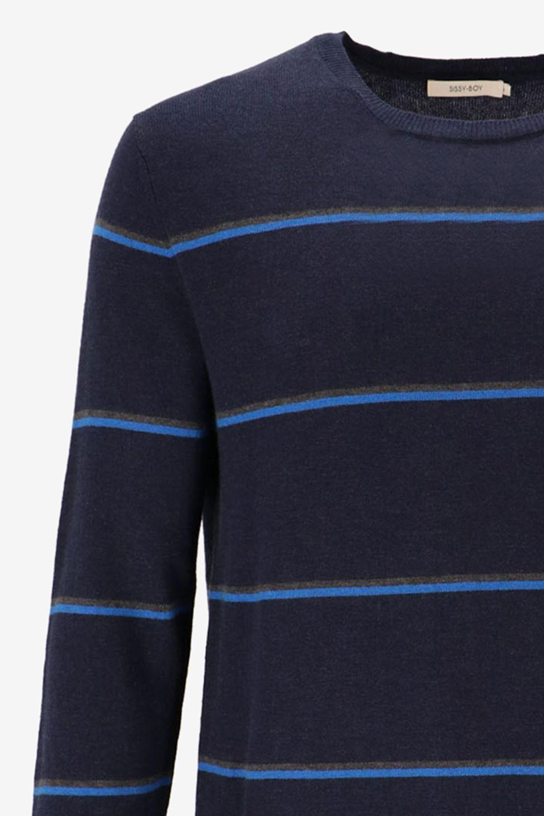 Donkerblauwe gestreepte trui - Heren | Sissy-Boy