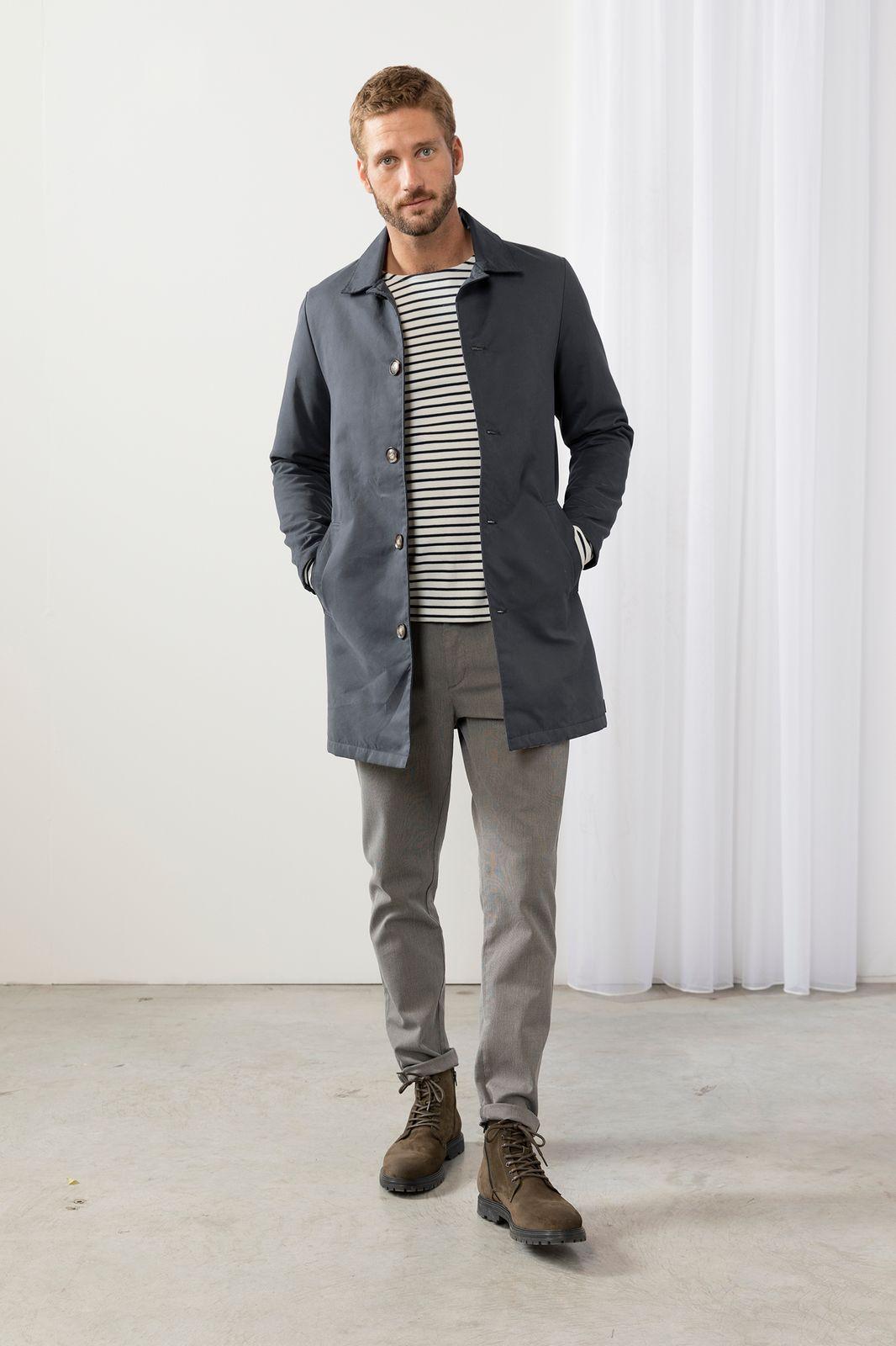 Donkerblauwe lange jas - Heren | Sissy-Boy