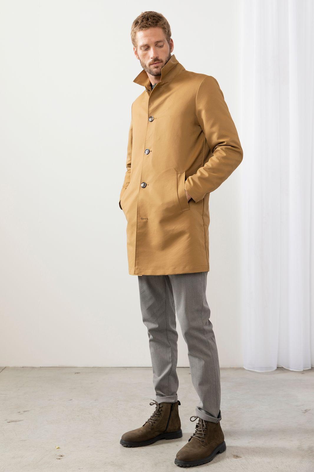 Camelkleurige lange jas - Heren | Sissy-Boy