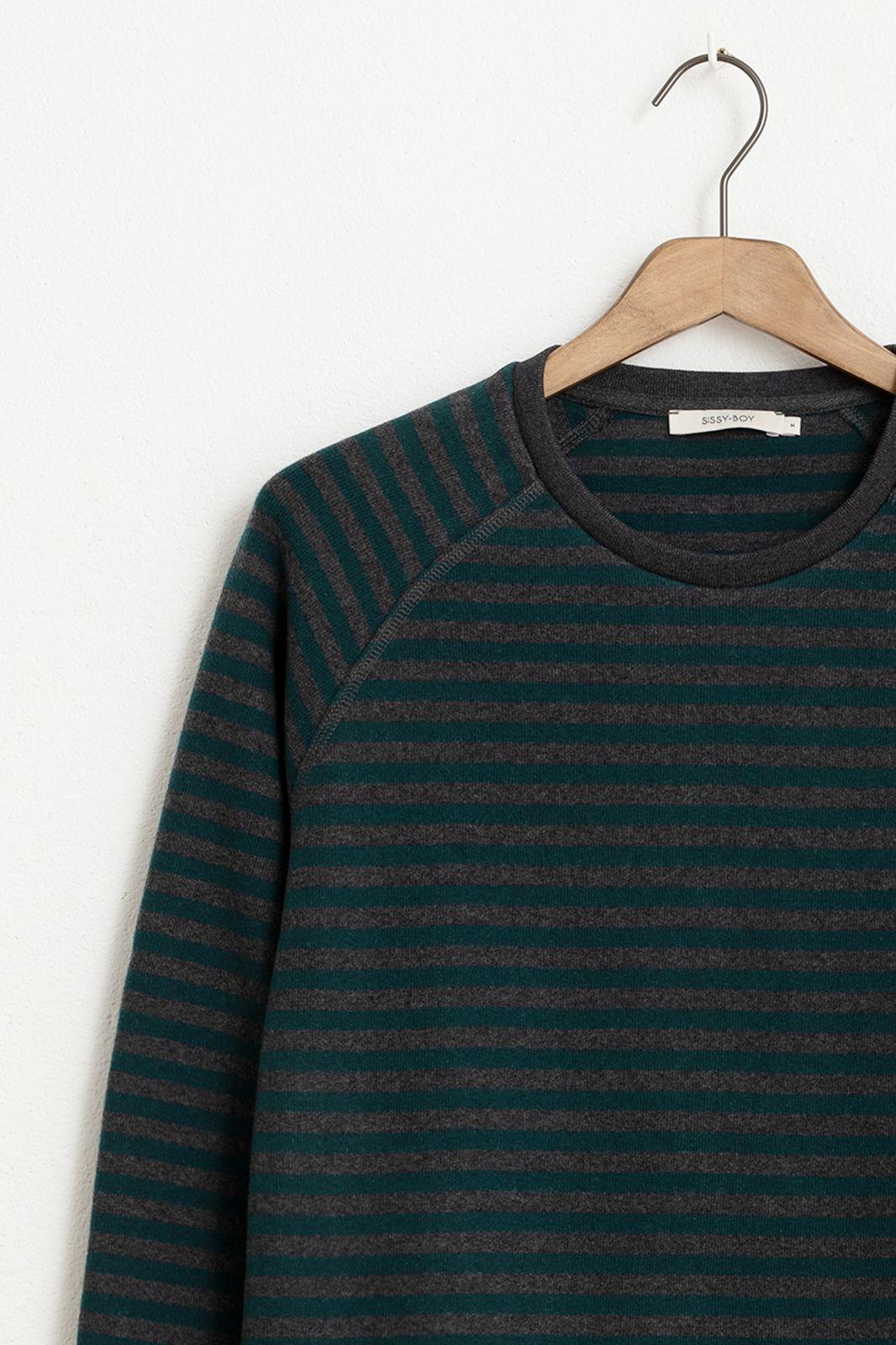 Groen gestreept raglan t-shirt lange mouw - Heren | Sissy-Boy