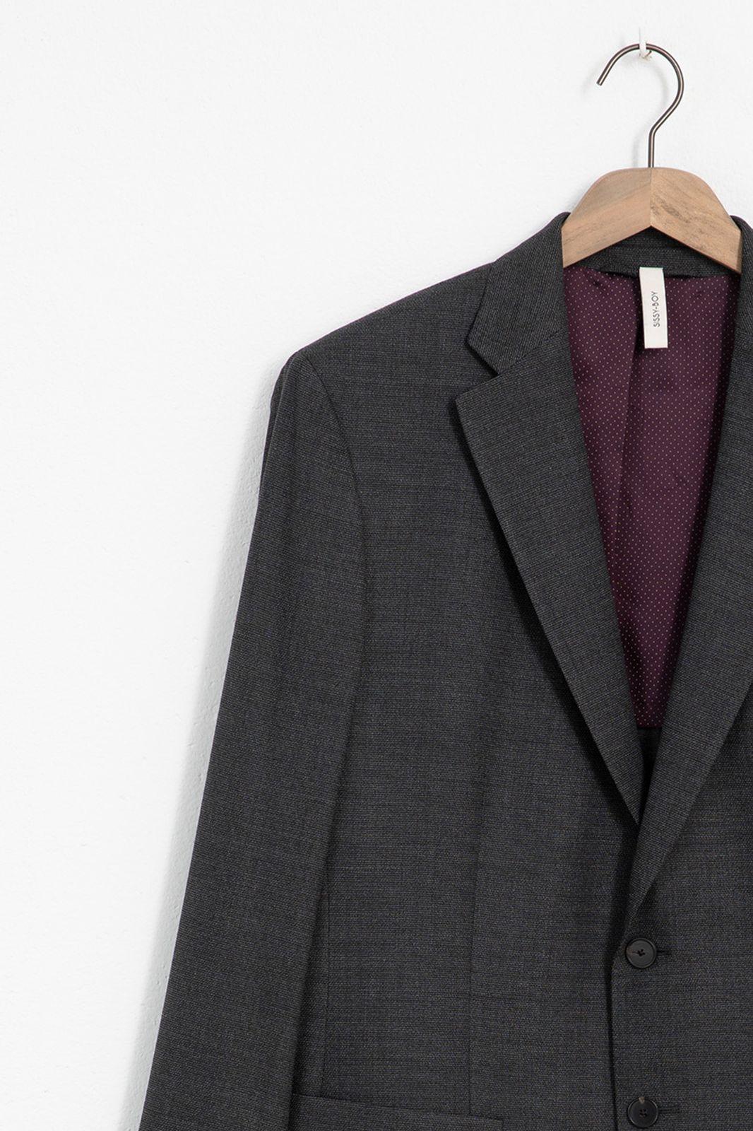Grijze blazer met herringbone print