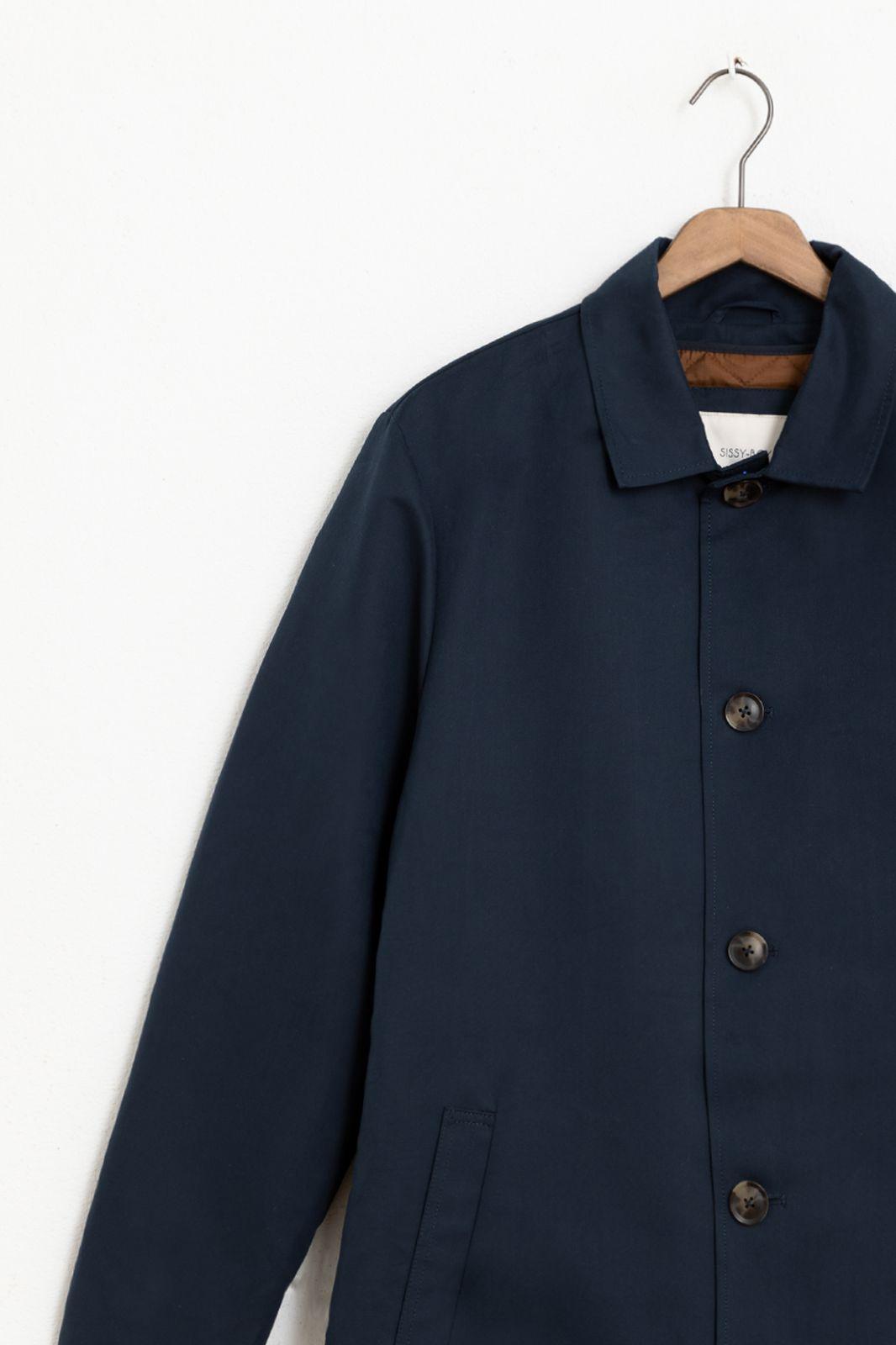 Donkerblauwe lange jas