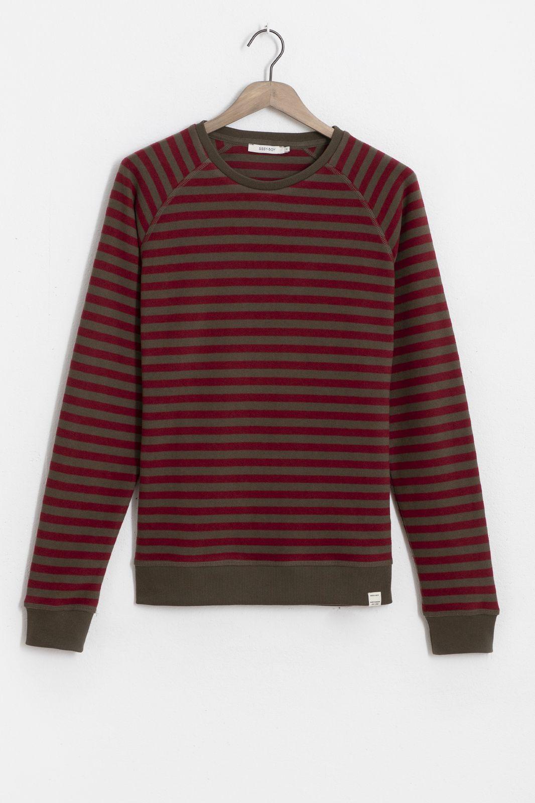 Raglan light sweater rood gestreept - Heren | Sissy-Boy