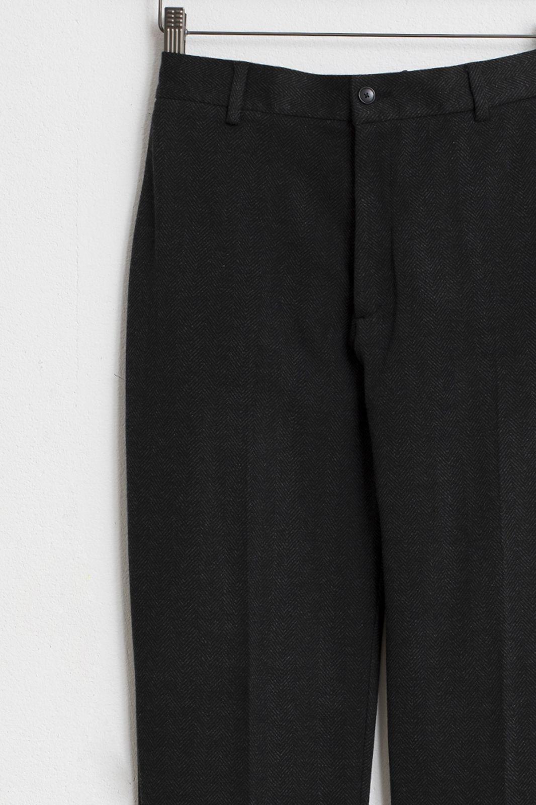 Donkergrijze pantalon herringbone