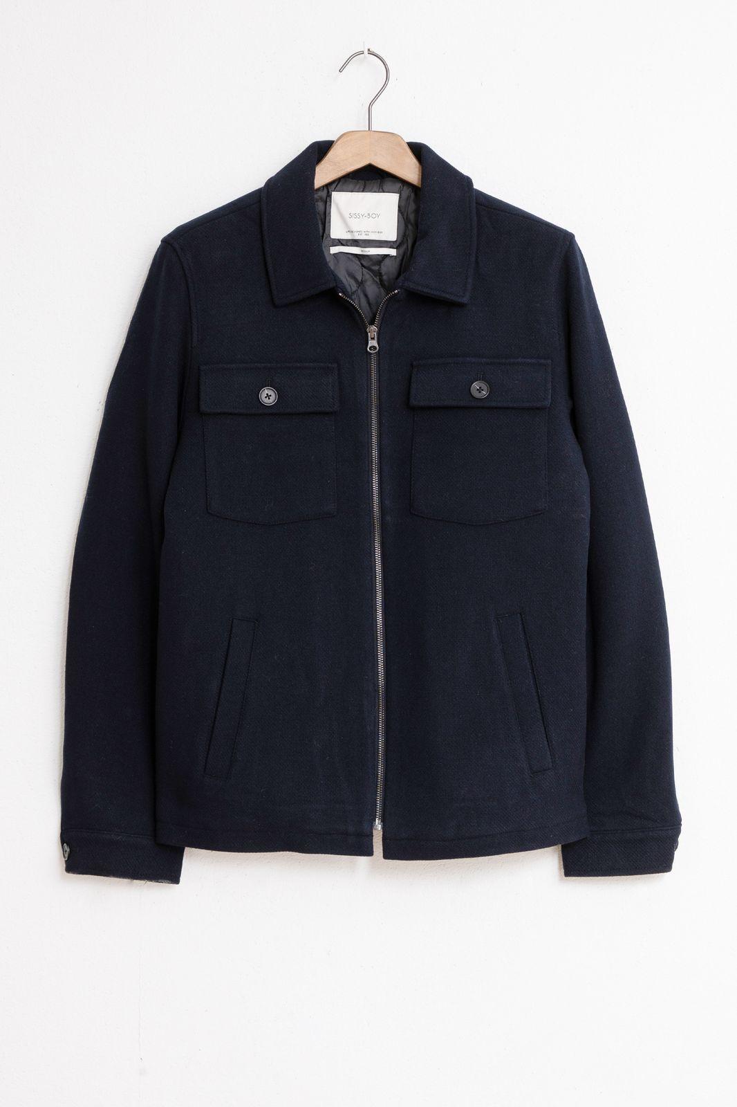 Donkerblauwe gevoerde jas