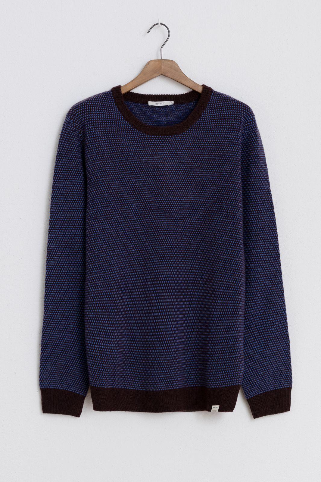 Bruin/paarse trui met motief