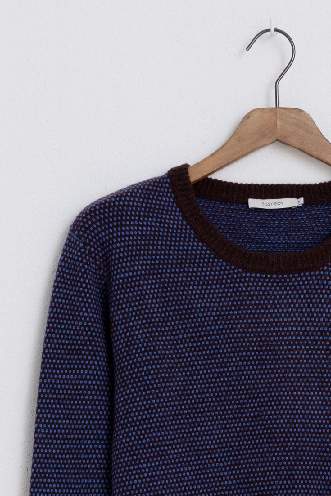 Bruin/paarse trui met motief - Heren   Sissy-Boy
