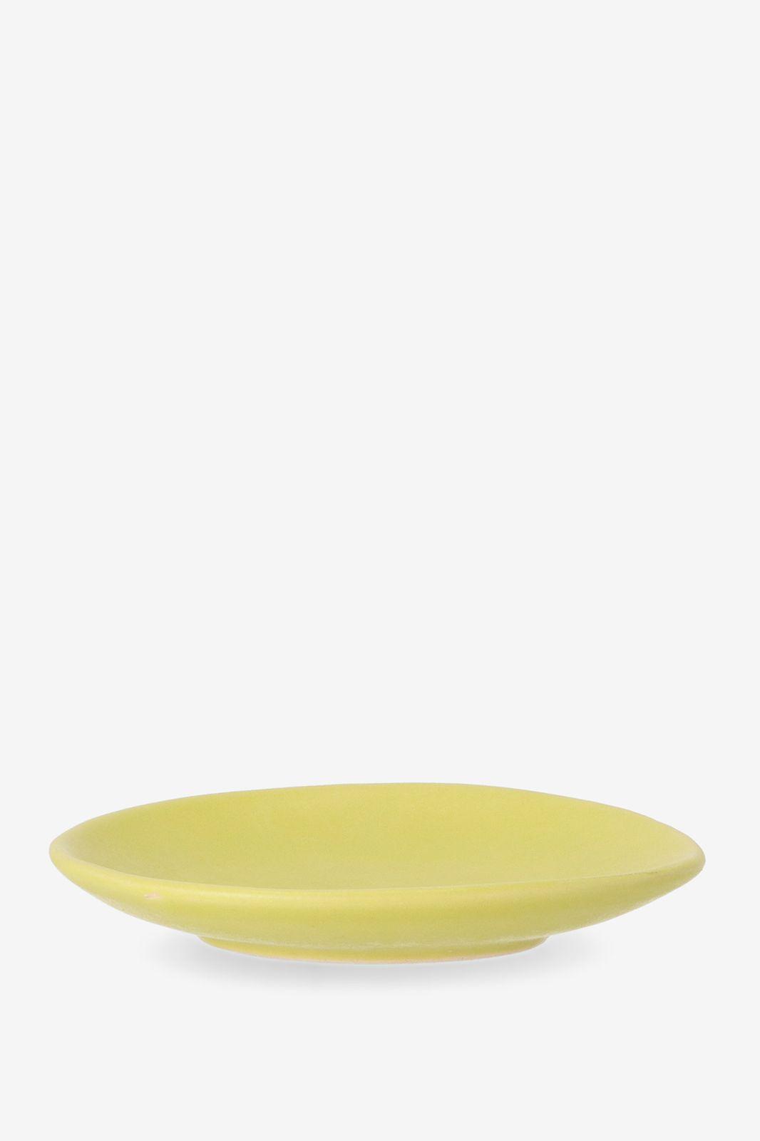 Geel aardewerk dessert bord