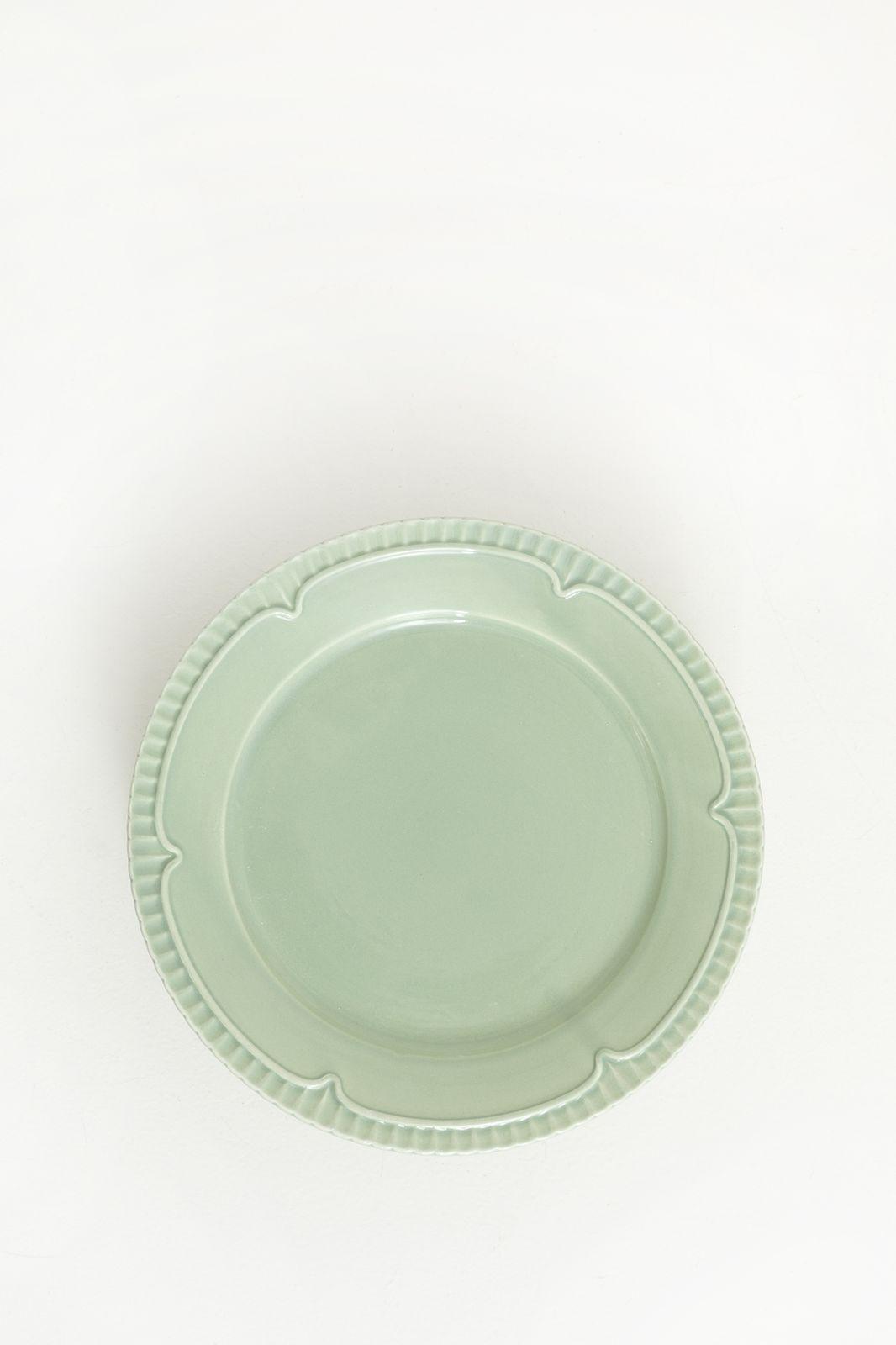 Groen aardewerk ontbijtbord
