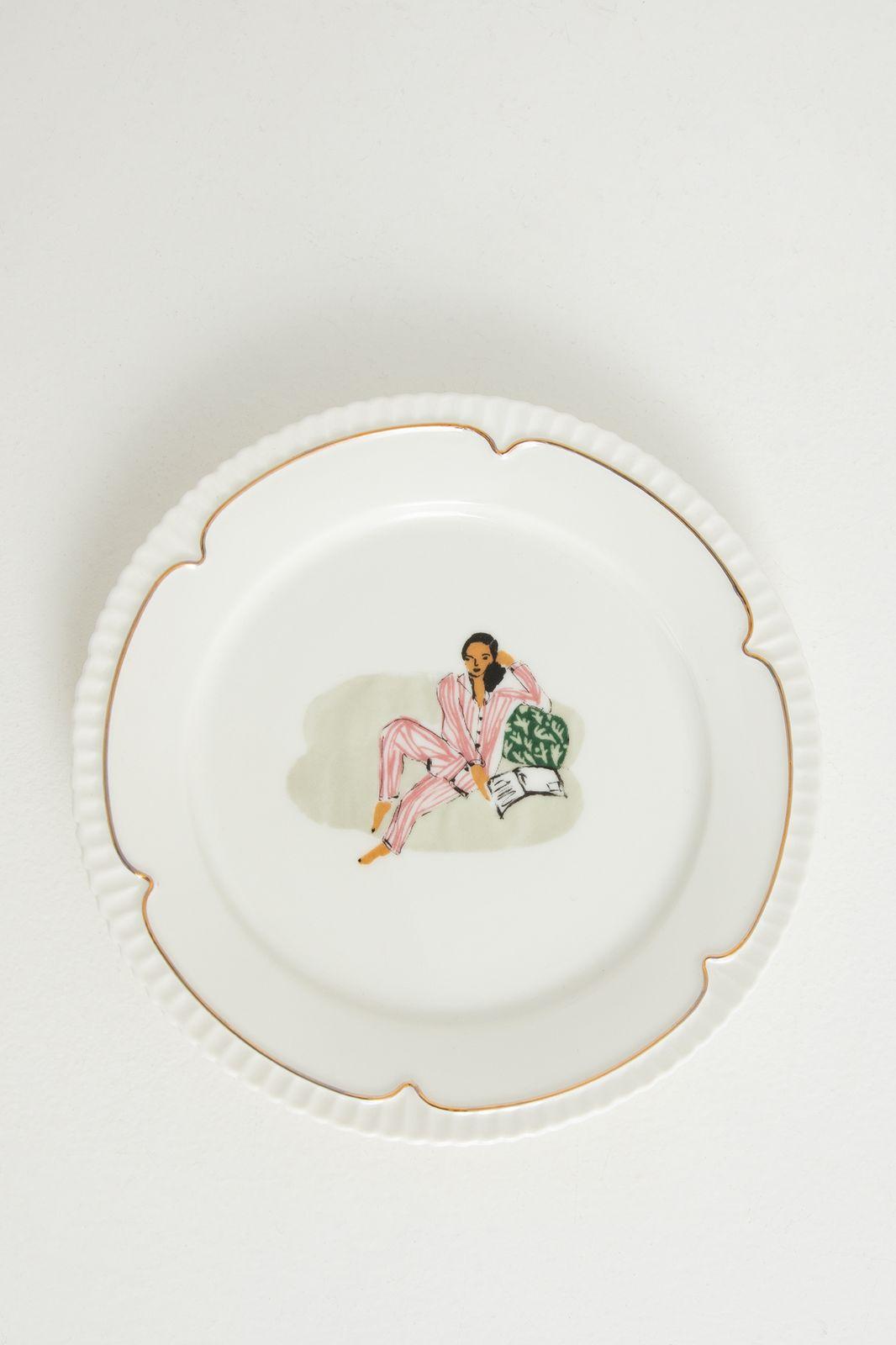 Wit aardewerk dessertbord deco gold woman - Homeland   Sissy-Boy