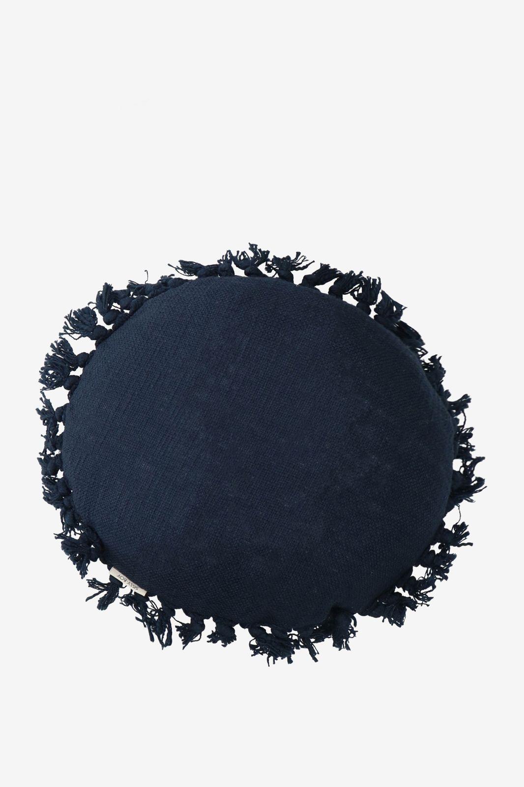 Donkerblauw sierkussen fringe