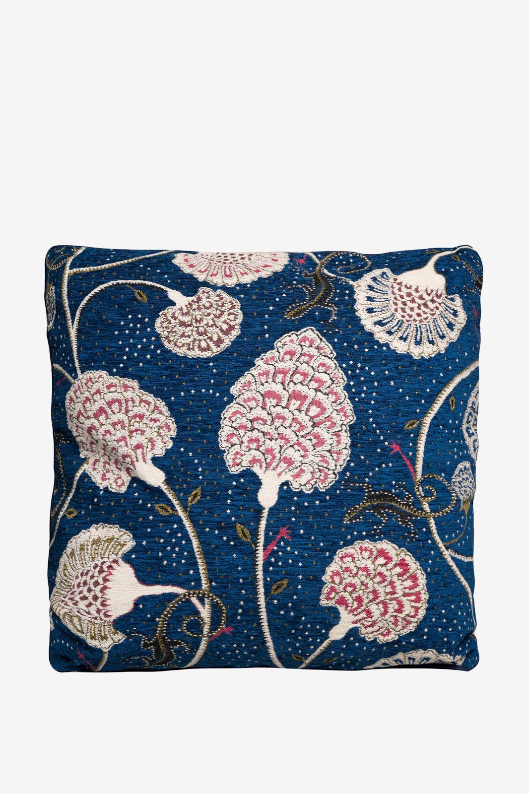 Donkerblauw geweven sierkussen bloemen