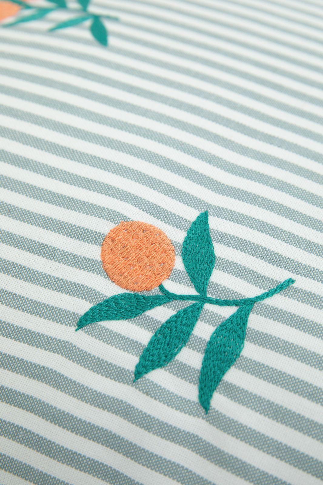Ecru sierkussen gestreept met sinaasappel embroidery - Homeland | Sissy-Boy