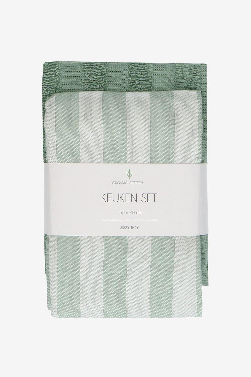 Lichtgroene theedoek en handdoek met strepen (set van 2)