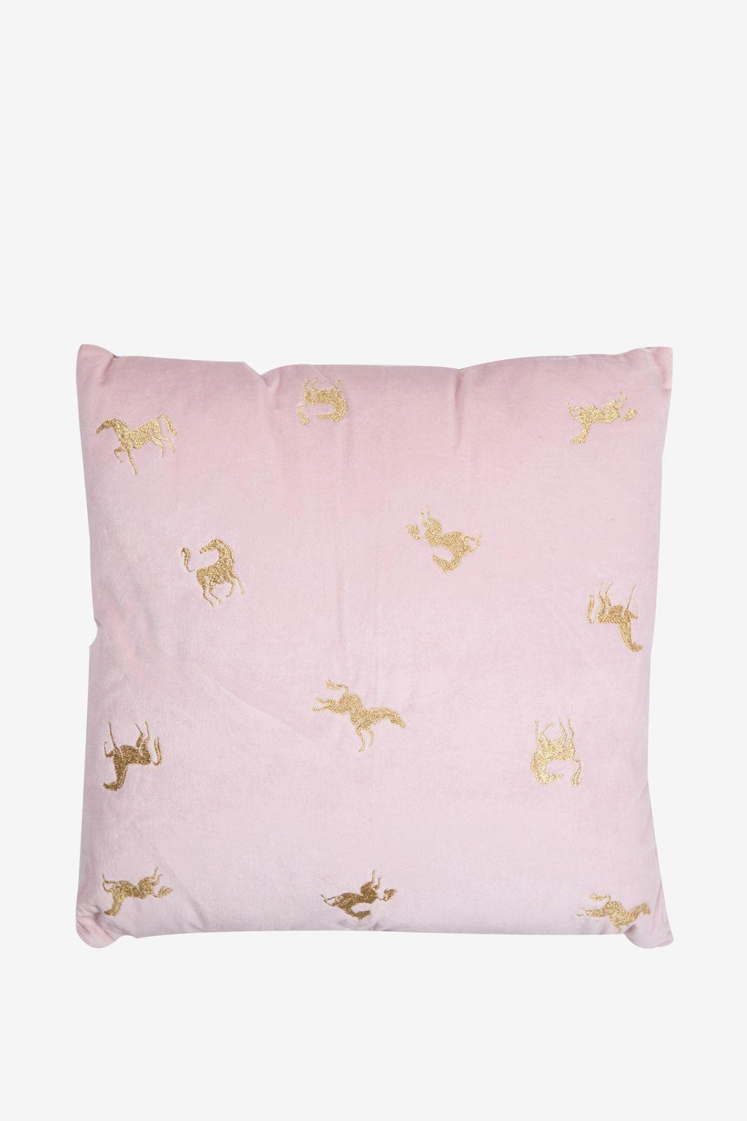 Roze velvet kussen met paarden