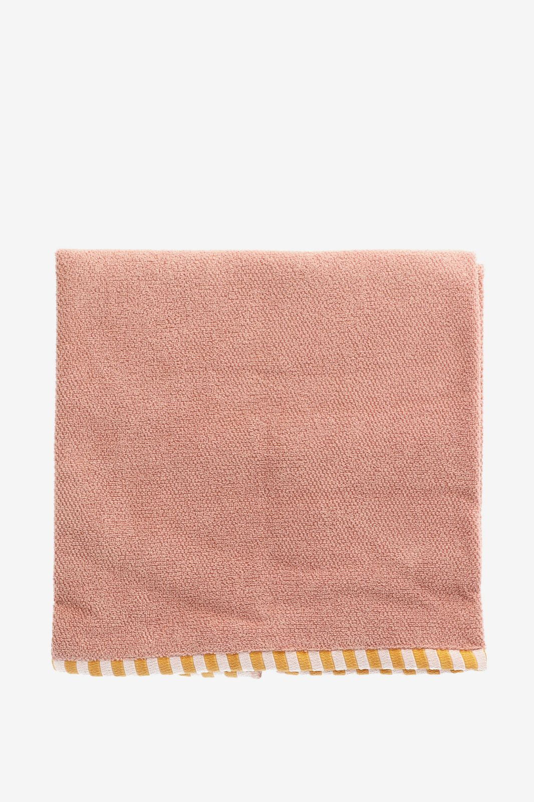 Roze handdoek met gestreepte border