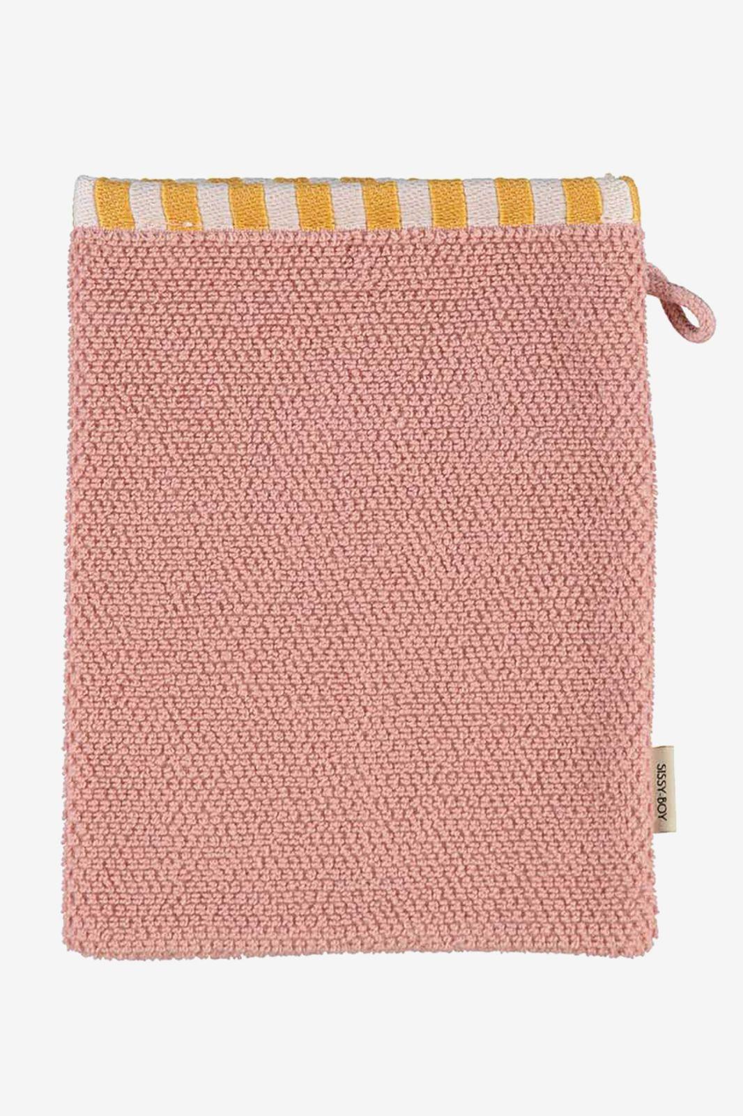 Washand roze met gestreepte border