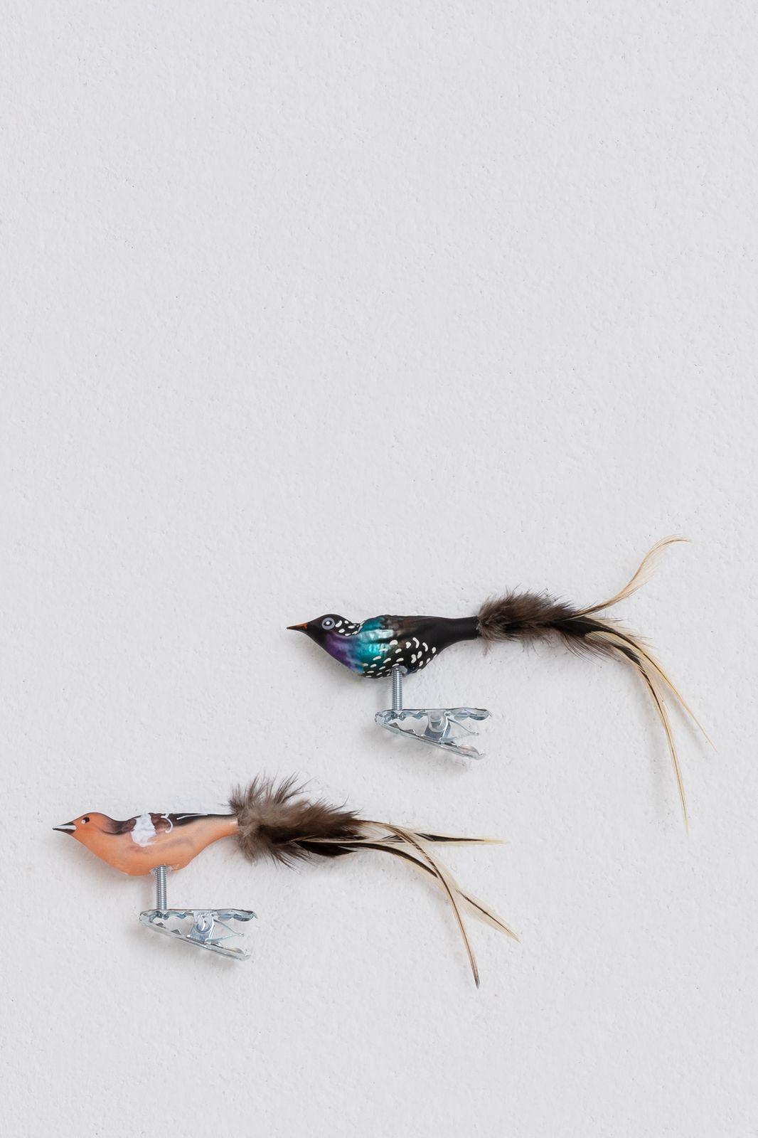 Set van 2 vogeltjes blauw