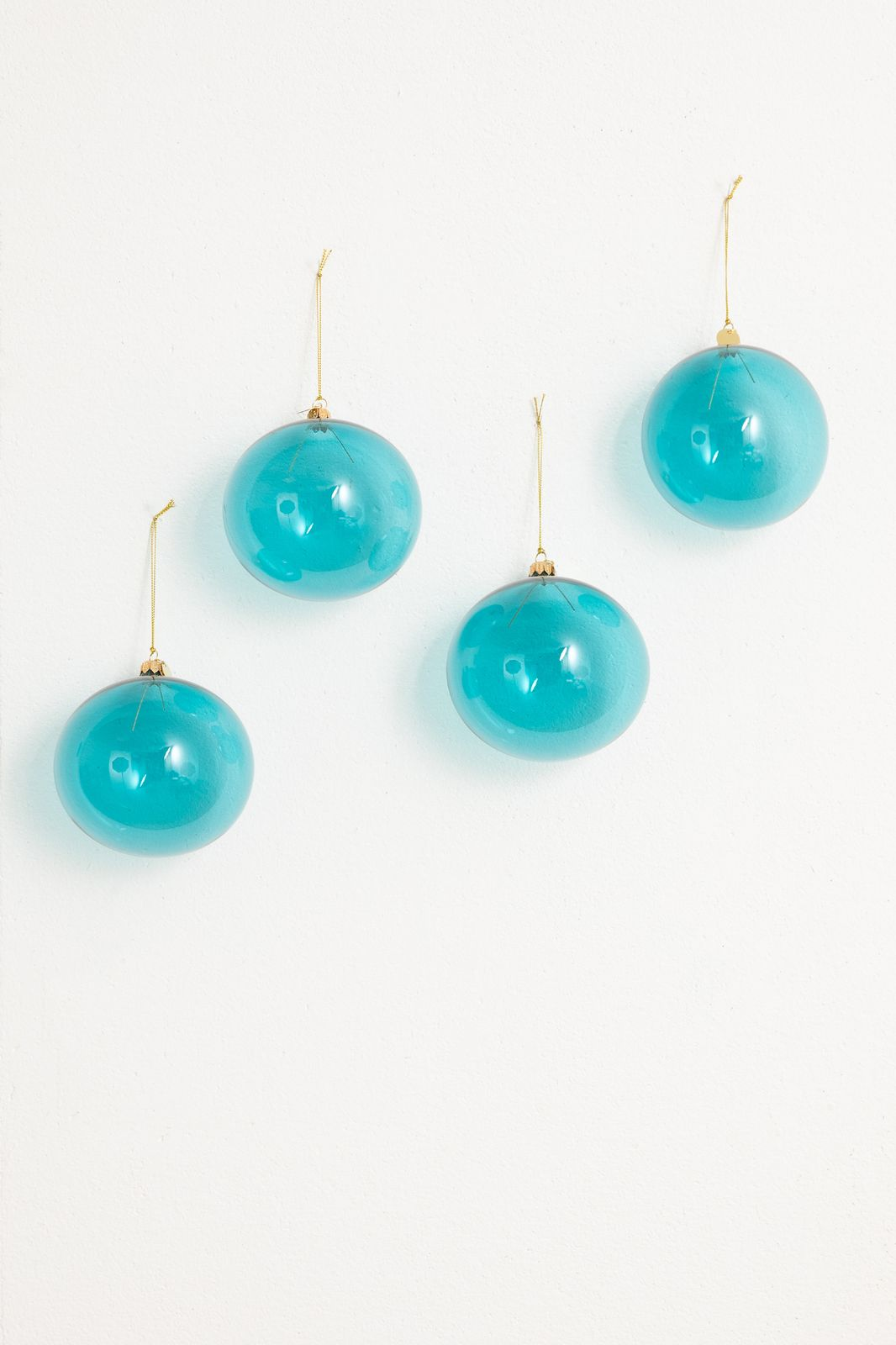 Kerstbal blauw glas