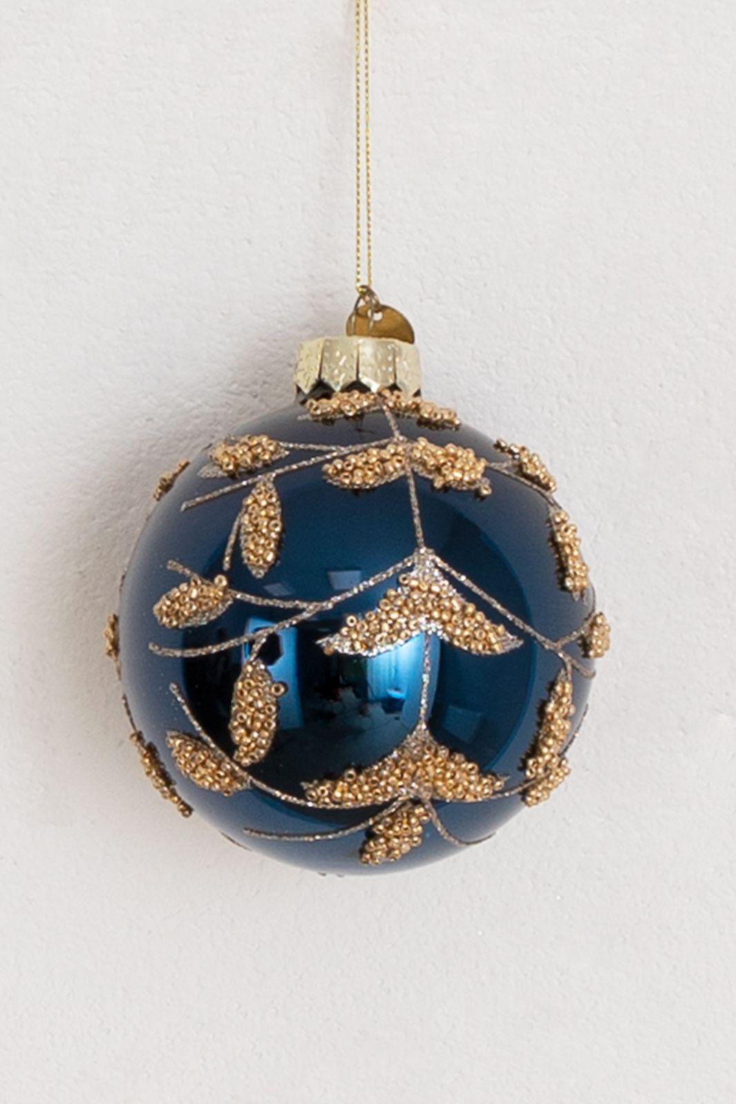 Donkerblauwe kerstbal met gouden details - Homeland | Sissy-Boy