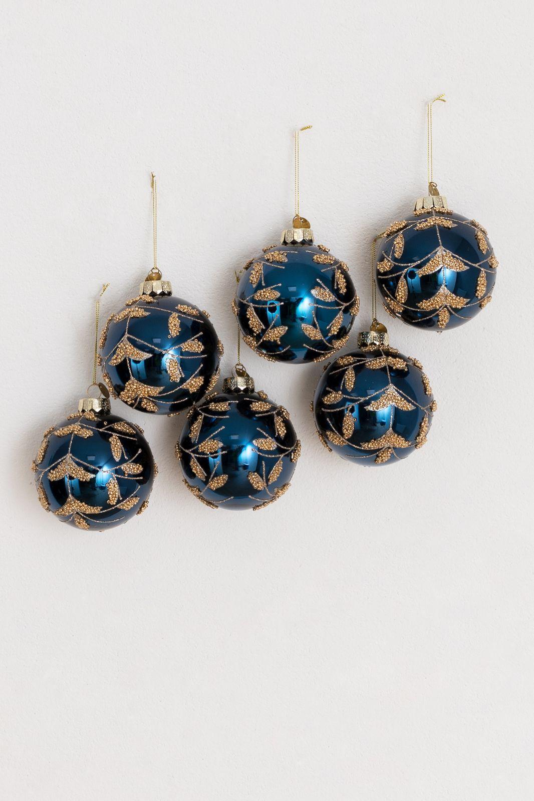 Donkerblauwe kerstbal met gouden details
