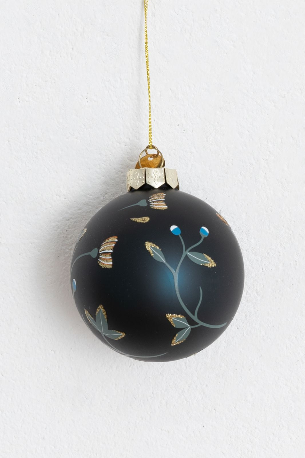 Donkerblauwe Kerstbal met bloemen - Homeland | Sissy-Boy