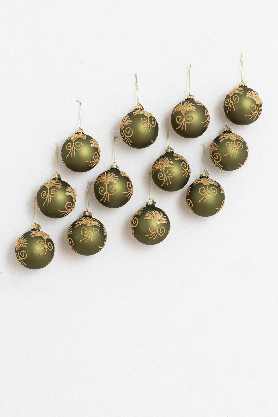 Kerstbal oriental flowers groen