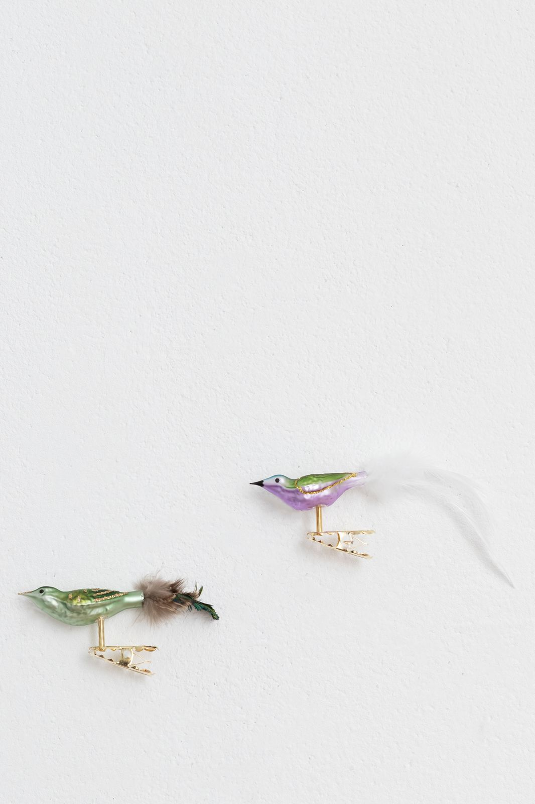 Kerst ornamenten lila vogeltjes
