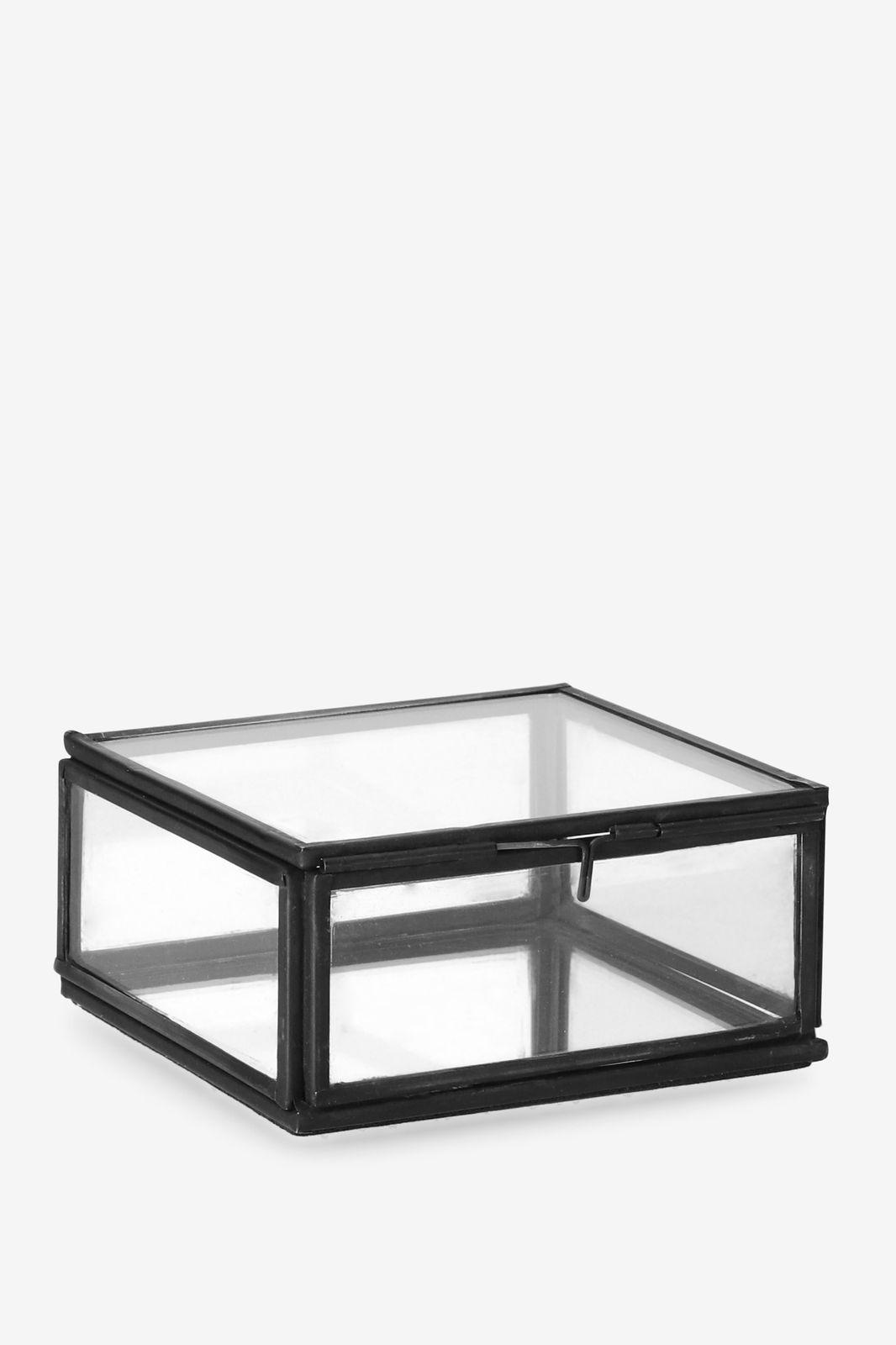 Zwarte glazen box vierkant