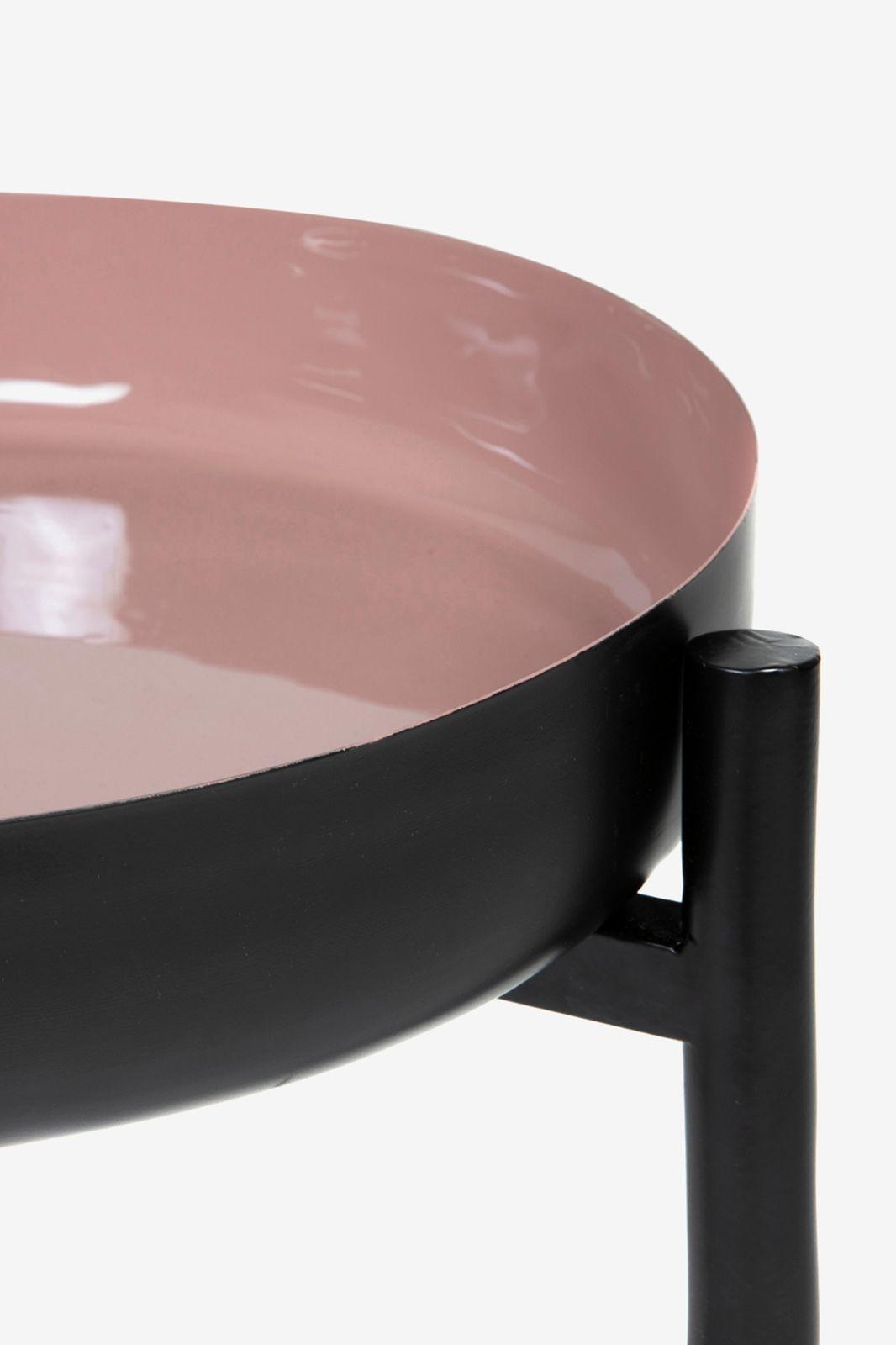 Zwarte met roze tafel met dienblad