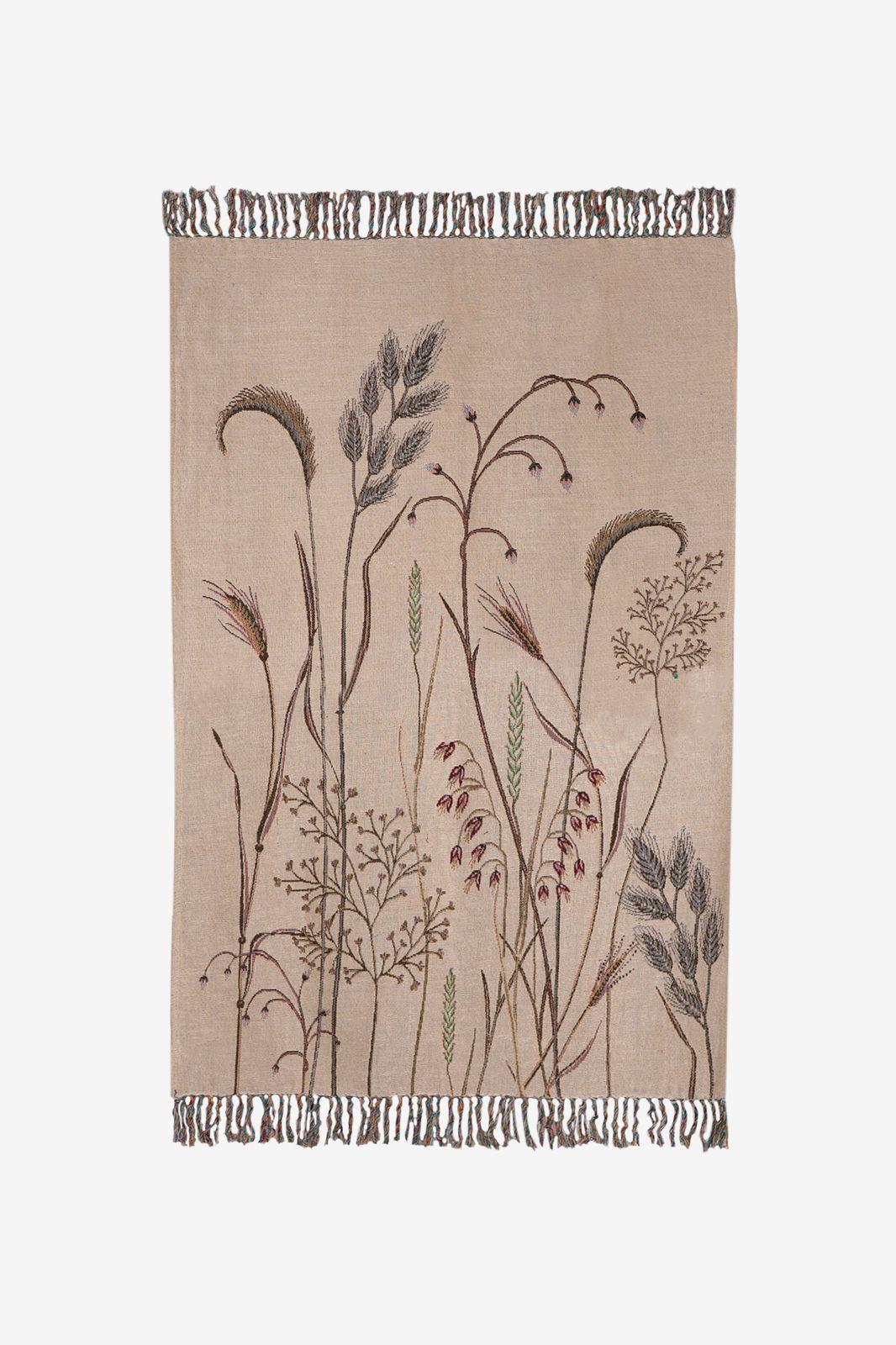 Beige jacquard geweven sprei met bloemenprint - Homeland   Sissy-Boy