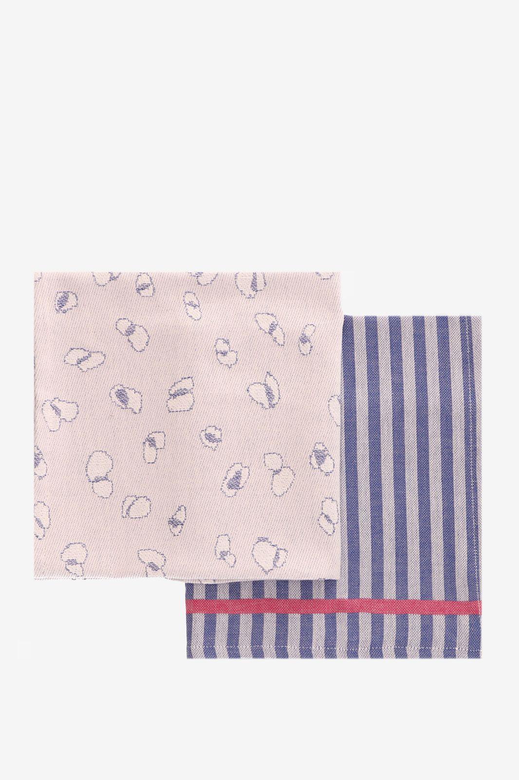 Blauwe theedoeken met print en gestreept (set van 2) - Homeland   Sissy-Boy