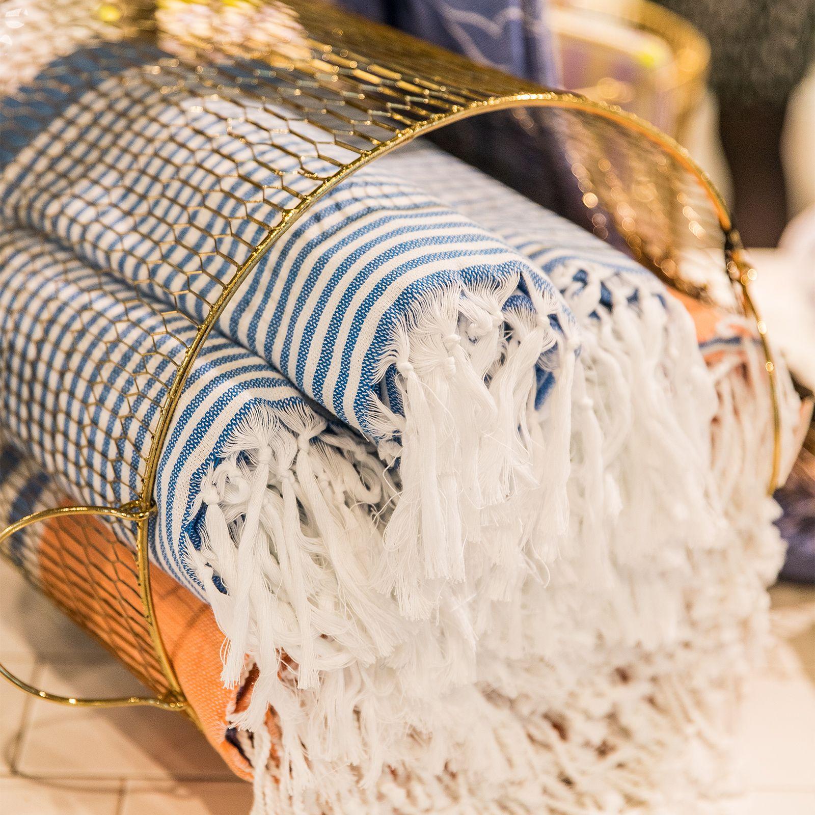 Blauw gestreepte hamamdoek