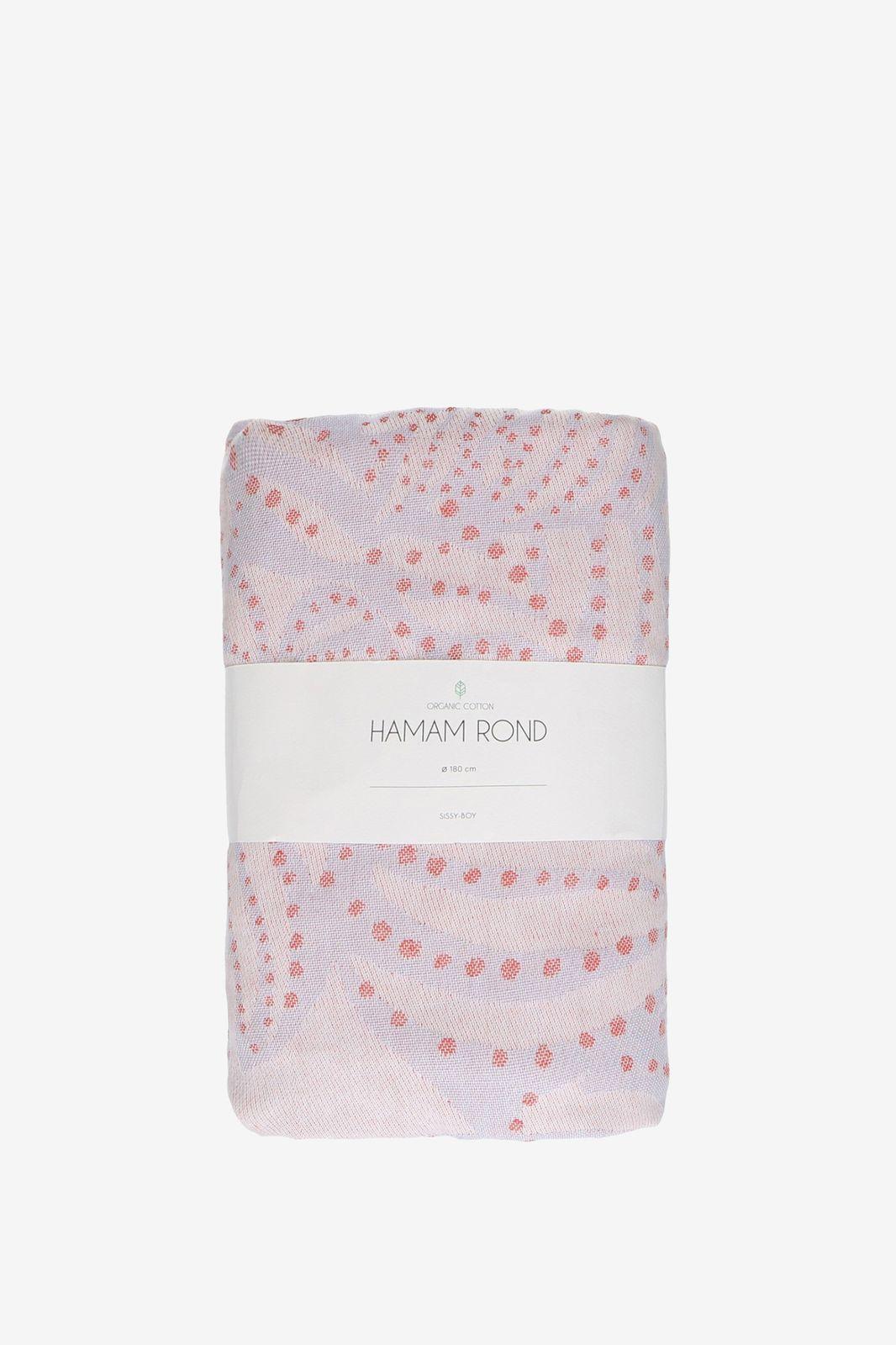 Blauw met roze hamamdoek in ronde vorm