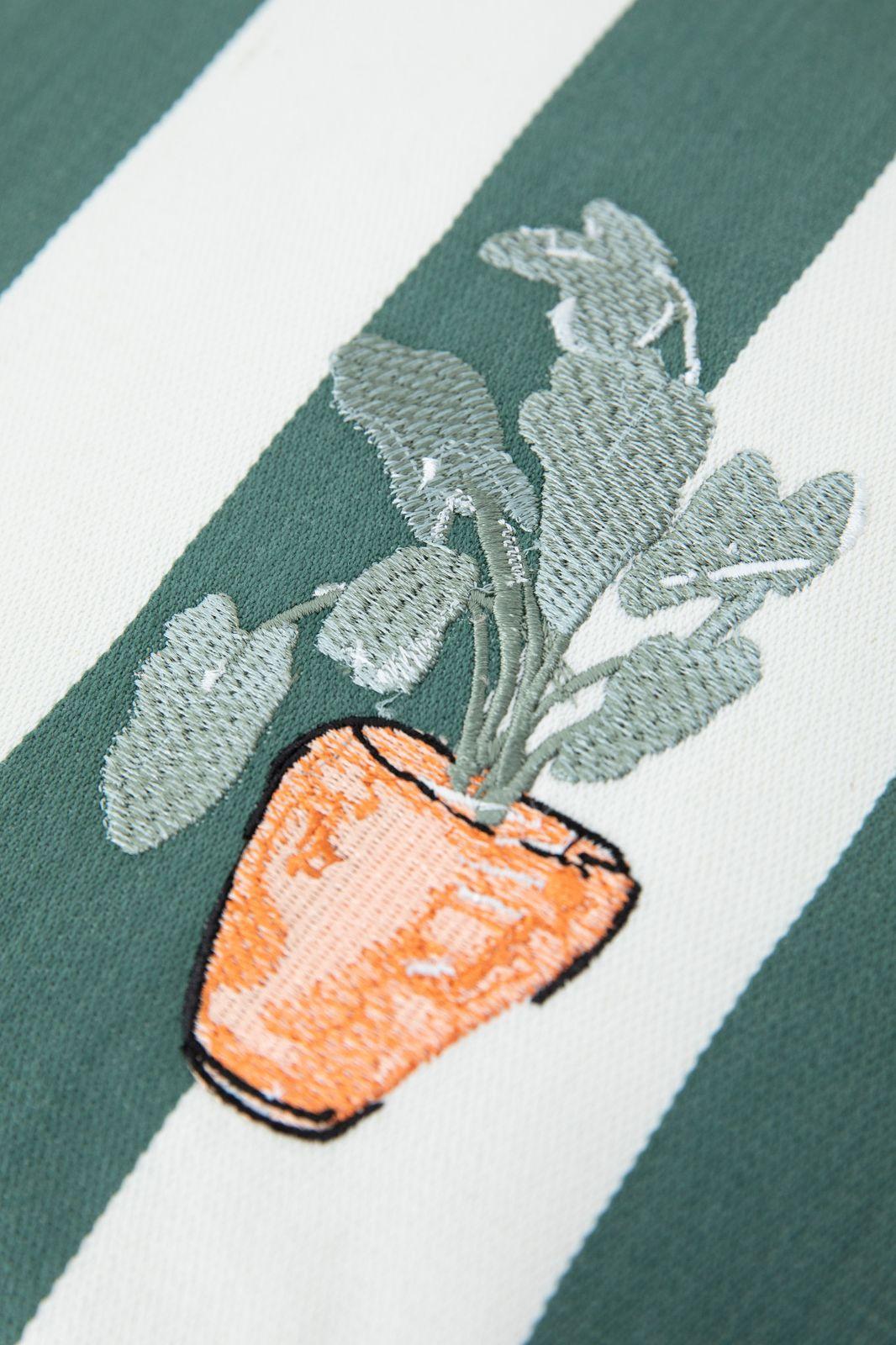 Sierkussen gestreept met plant embroidery