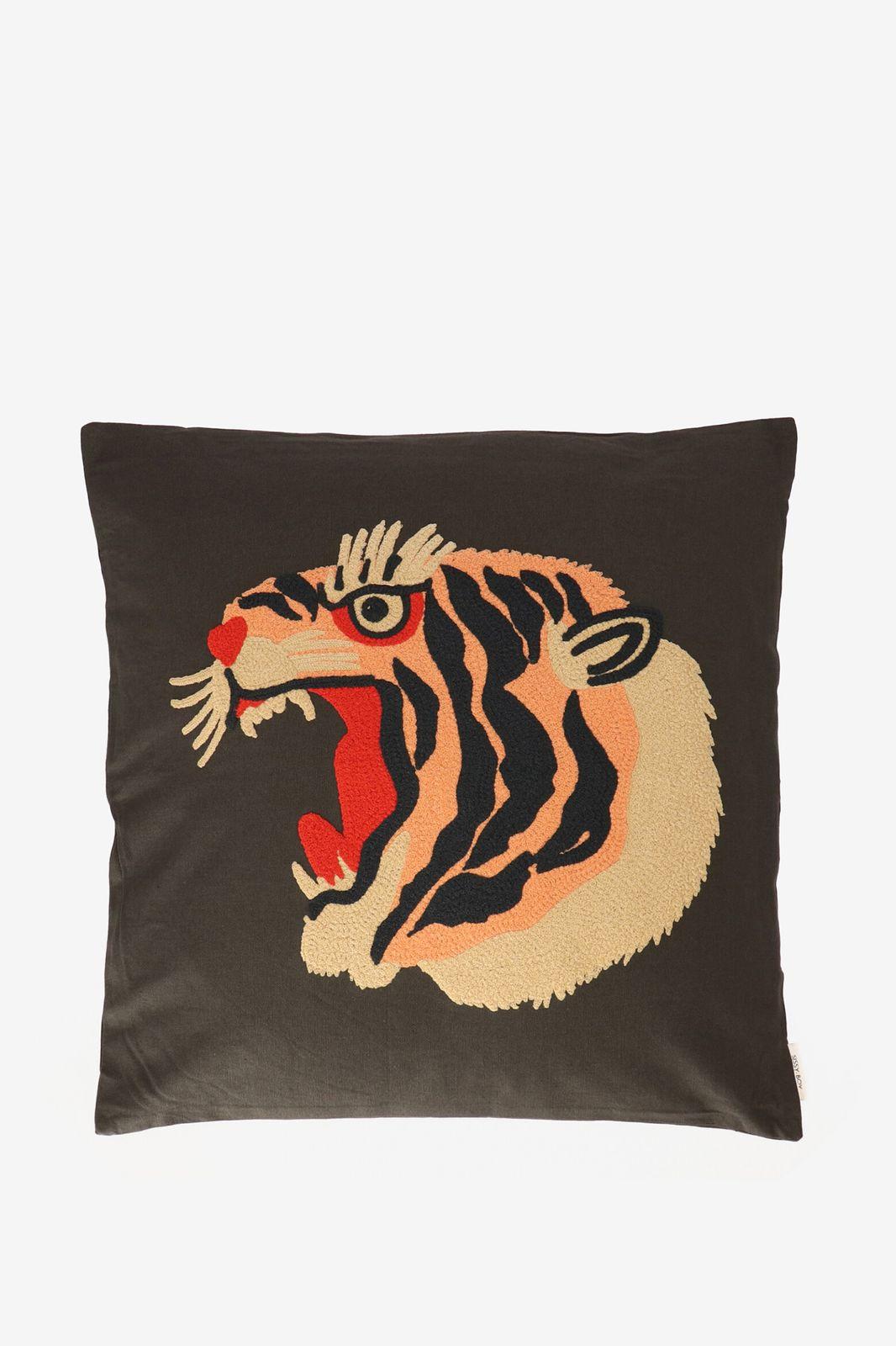 Donkergroen sierkussen tijger (50x50 cm) - Homeland | Sissy-Boy