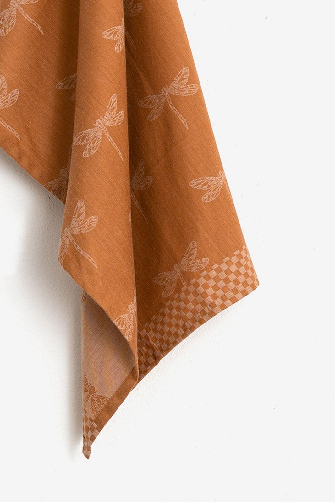 Bruin/oranje theedoek libelles
